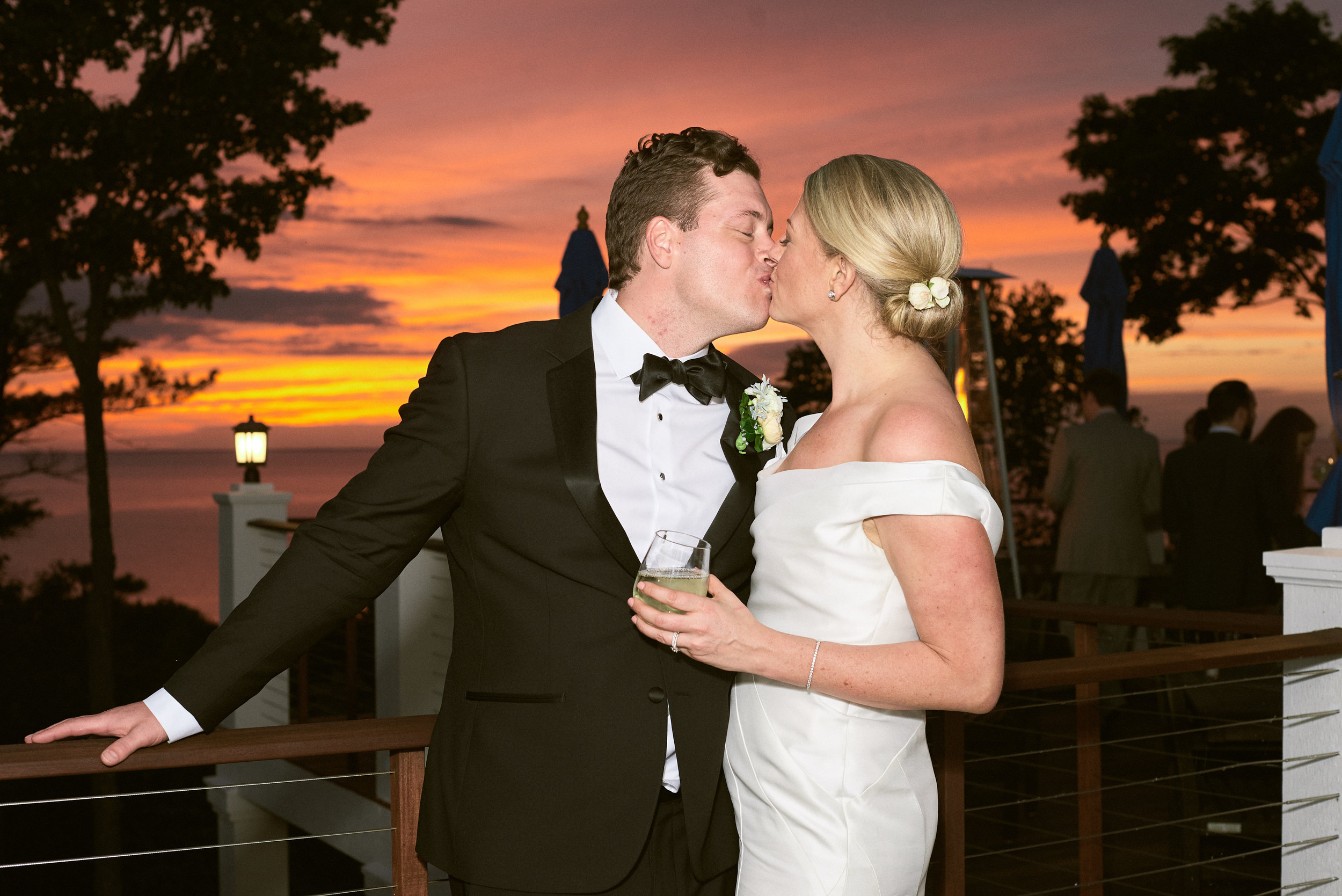 bride and groom's door county sunset portraits