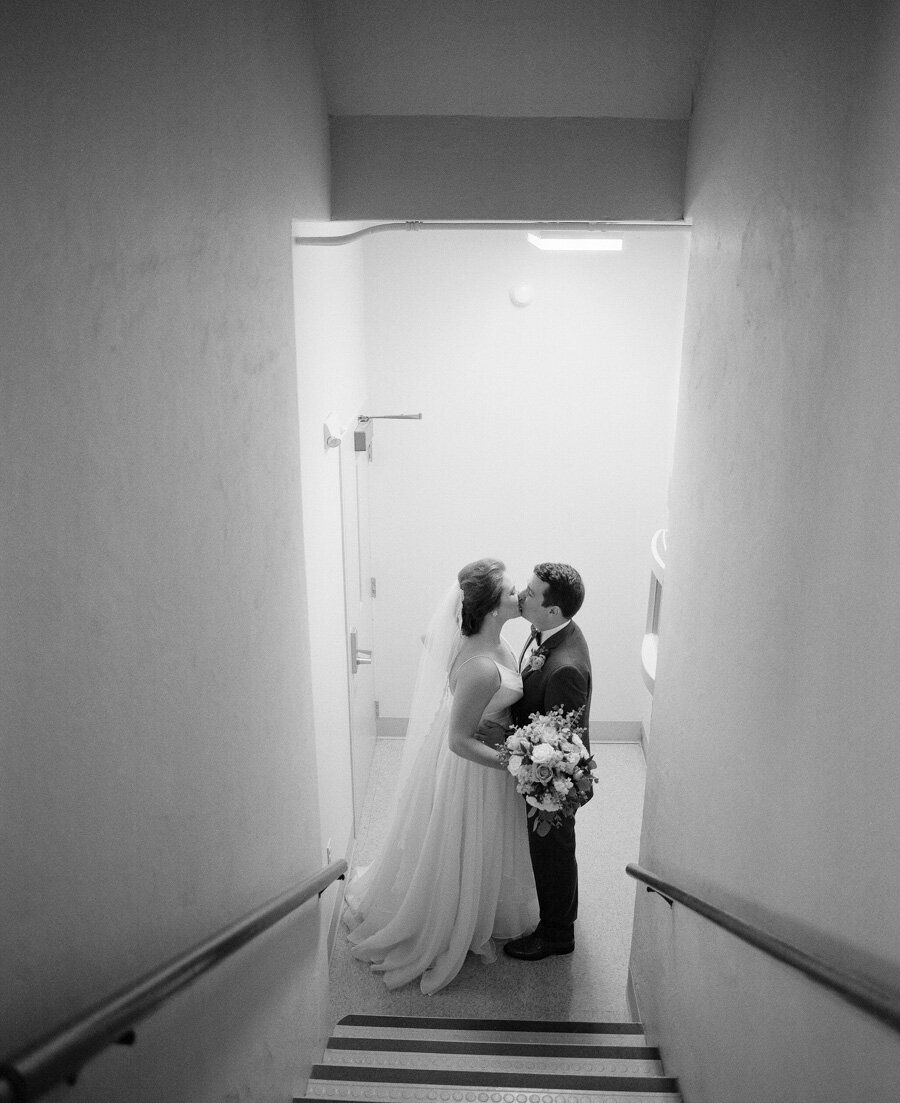 Bride and Groom just married at Stella Maris in Bailey's Harbor share a moment to themselves