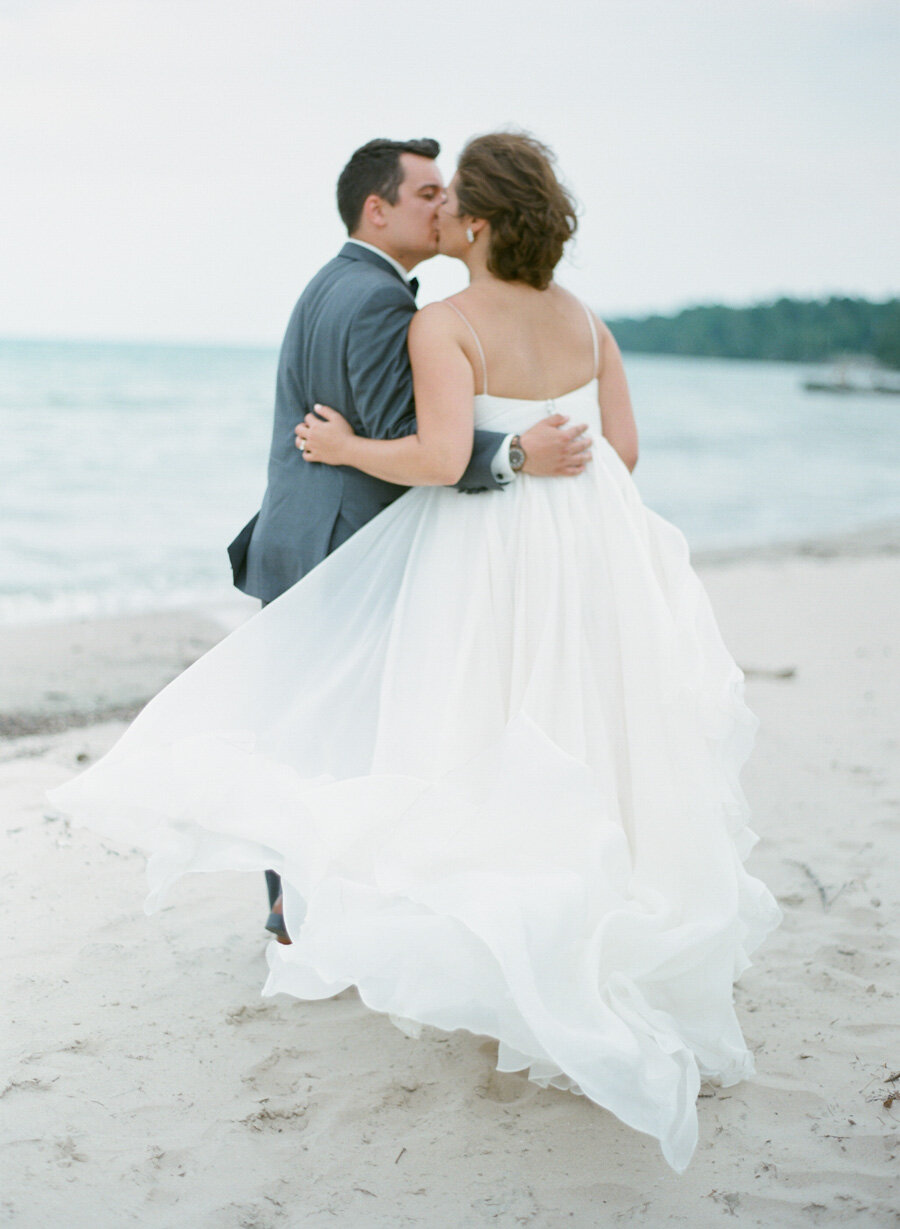 Bride and Groom beach portraits in Door County