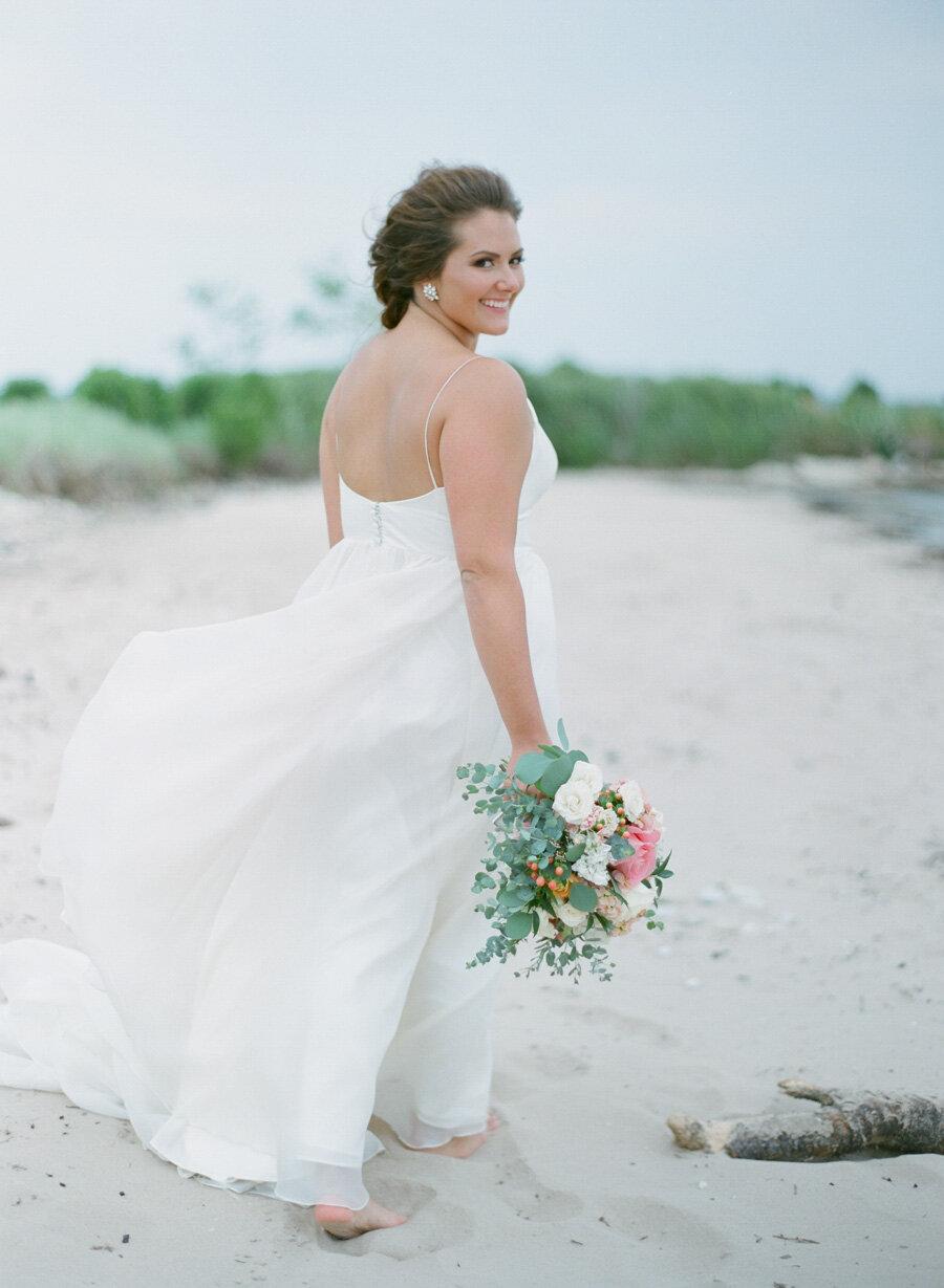 Bride in Modern Trousseau on Door County beach