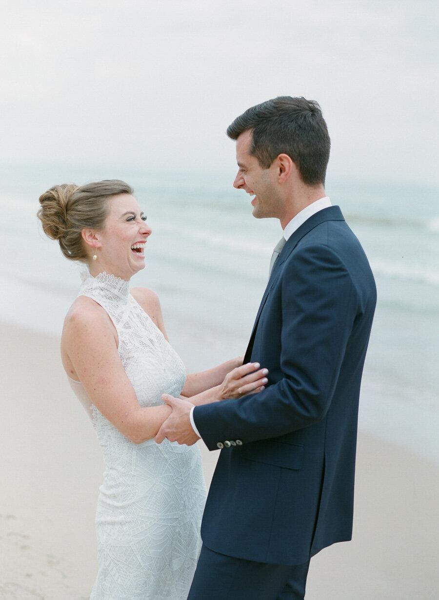 Bride and Groom first look on the dunes in Door County