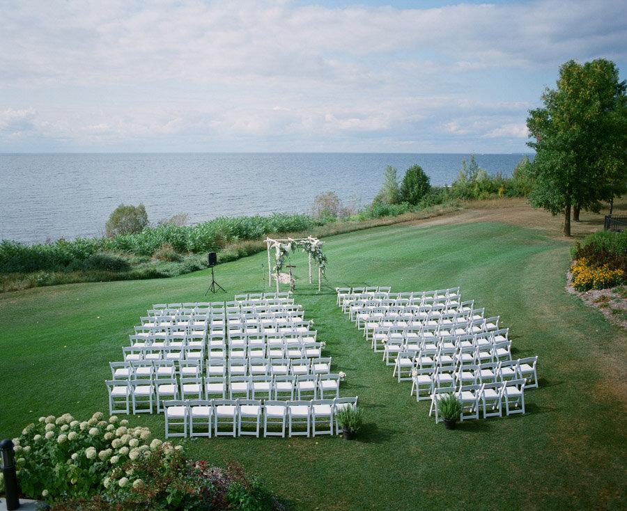 Ceremony overlooking the bay in Door County