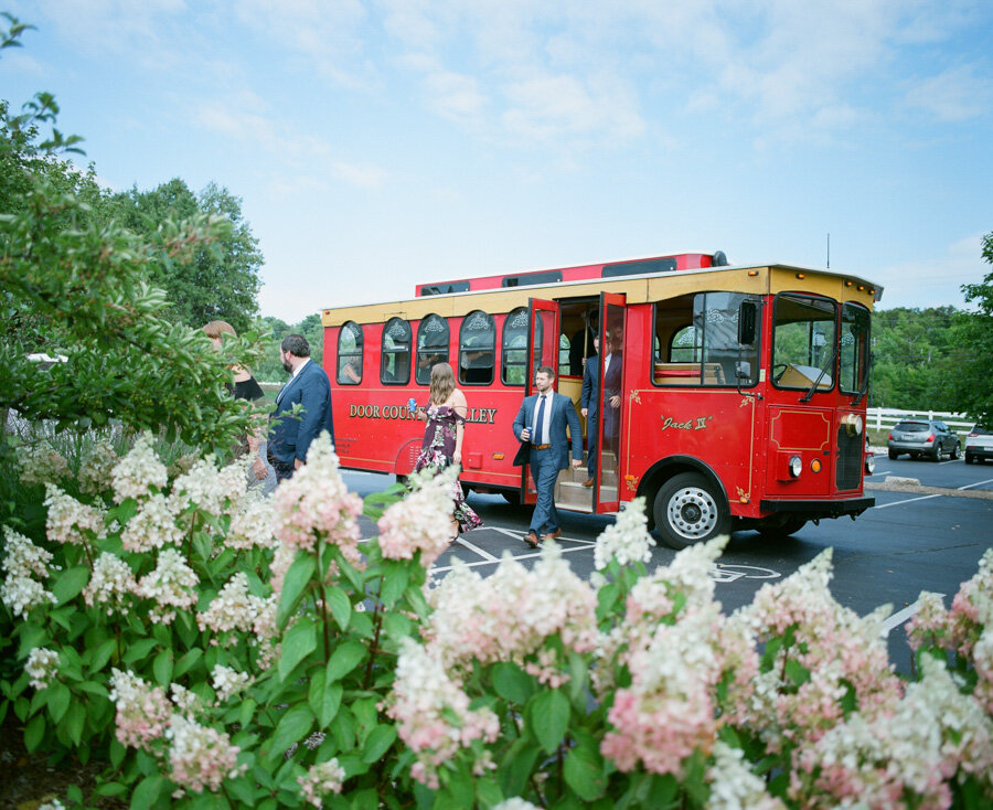 Guests arrive by Door County Trolly at the Horseshoe Bay Beach Club
