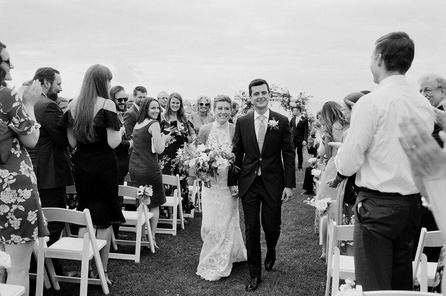 bride and groom just married in door county
