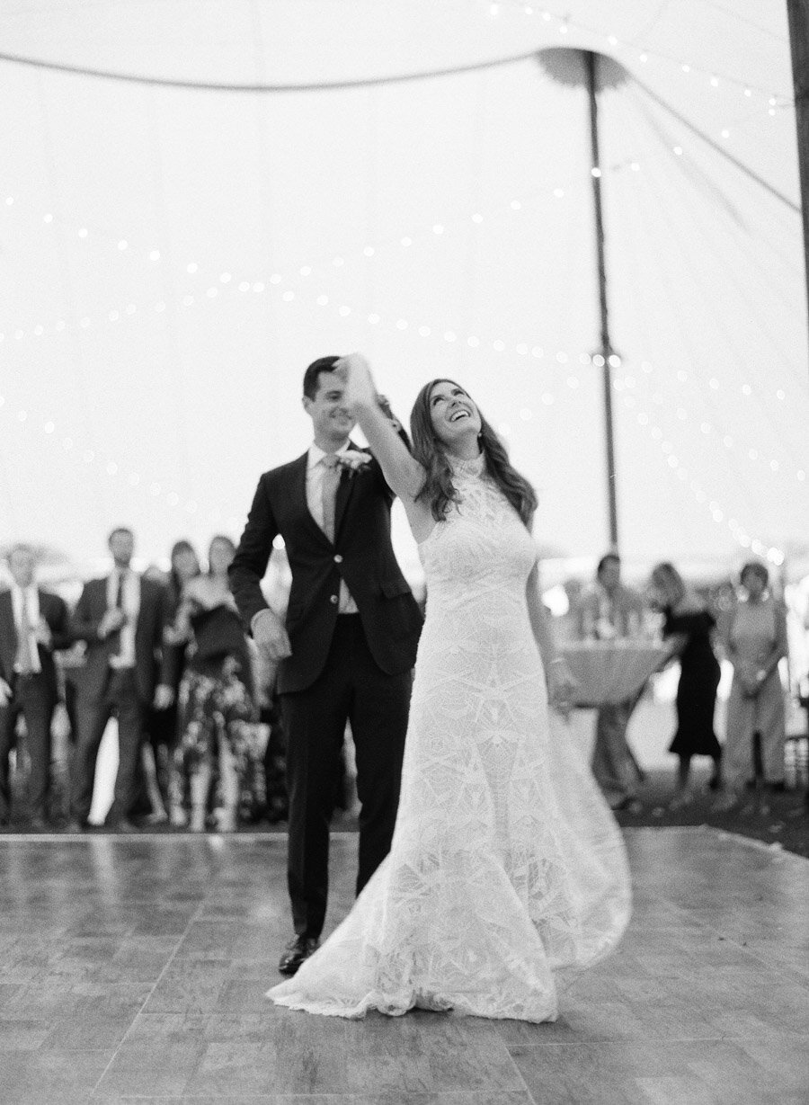 bride and groom first dance at horseshoe bay beach club
