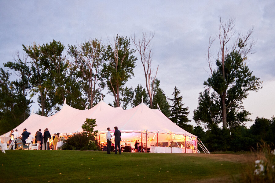 Sail cloth tented reception lit up in door county