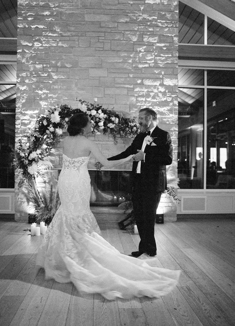 bride and groom first dance kress pavilion door county