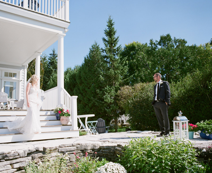 sister bay door county wedding first look
