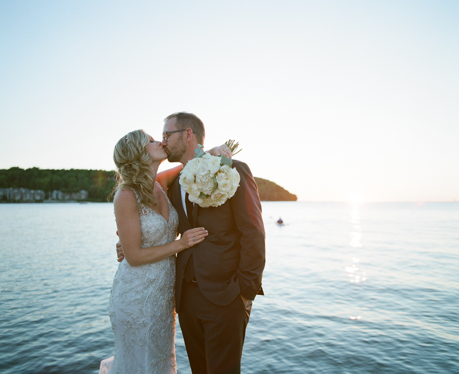 door county sunset wedding portraits in sister bay