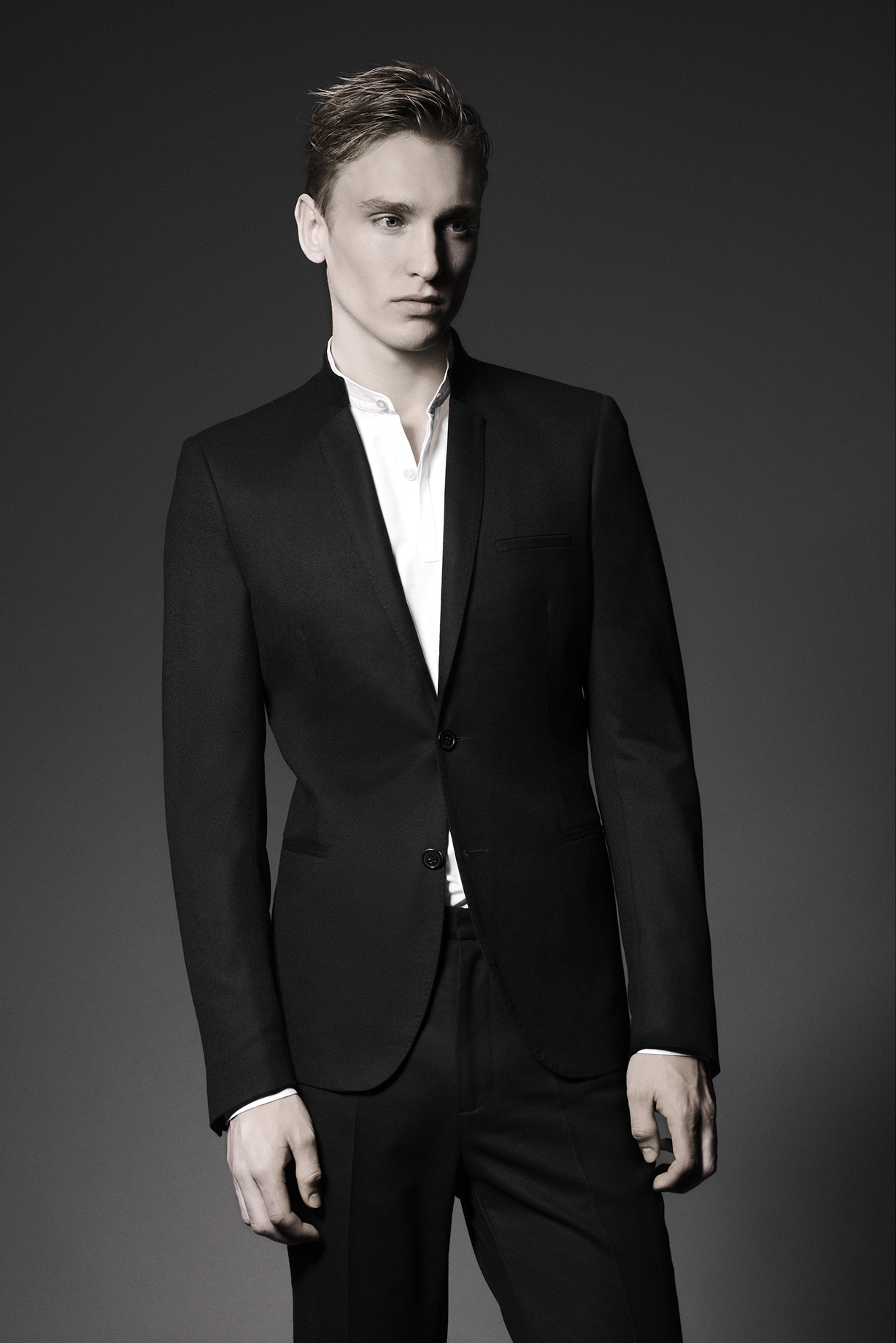 CONTEMPORARY JACKET Colours: Black 100% Wool Made In Italy  CONTEMPORARY SHIRT Colours: White 100% Cotton Made In Italy