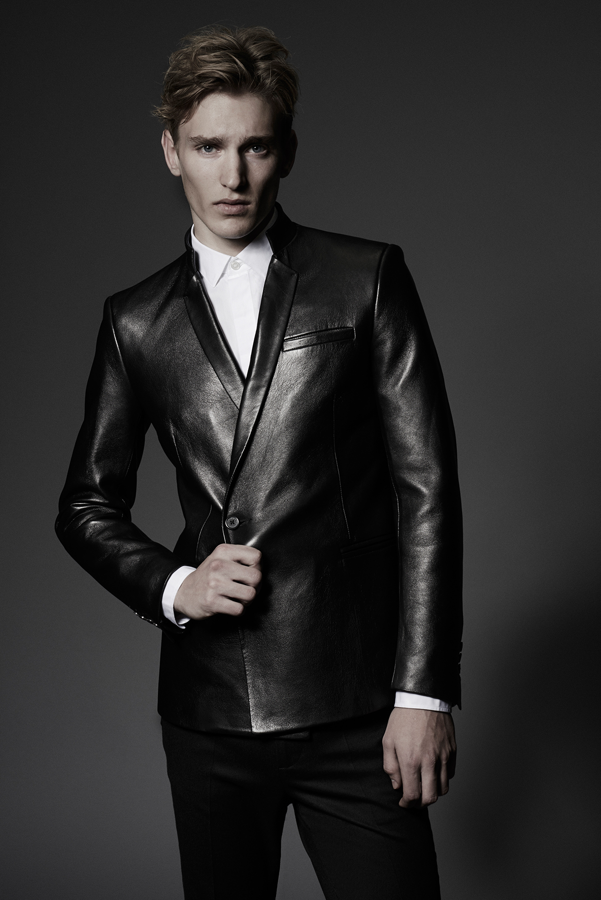 CONTEMPORARY JACKET DOUBLE BREASTED Colours: Black 100% Goatskin Leather Made In England  CLASSIC SHIRT Colours: White 100% Cotton Made In Italy