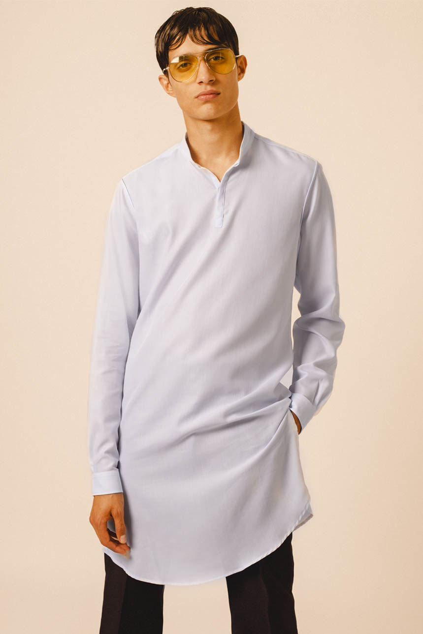 CONTEMPORARY LONG SHIRT SKY BLUE SLIM FIT TROUSERS BLACK