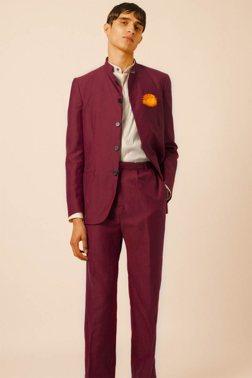 BOMBAY JACKET RED BOMBAY SHIRT BEIGE RED LINEN TROUSERS