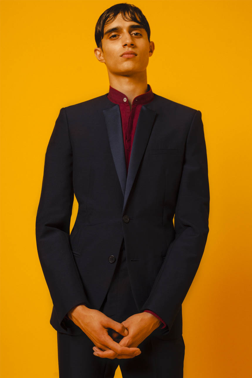 NO COLLAR TUXEDO MIDNIGHT BLUE CONTEMPORARY SHIRT RED SLIM FIT TUXEDO TROUSERS