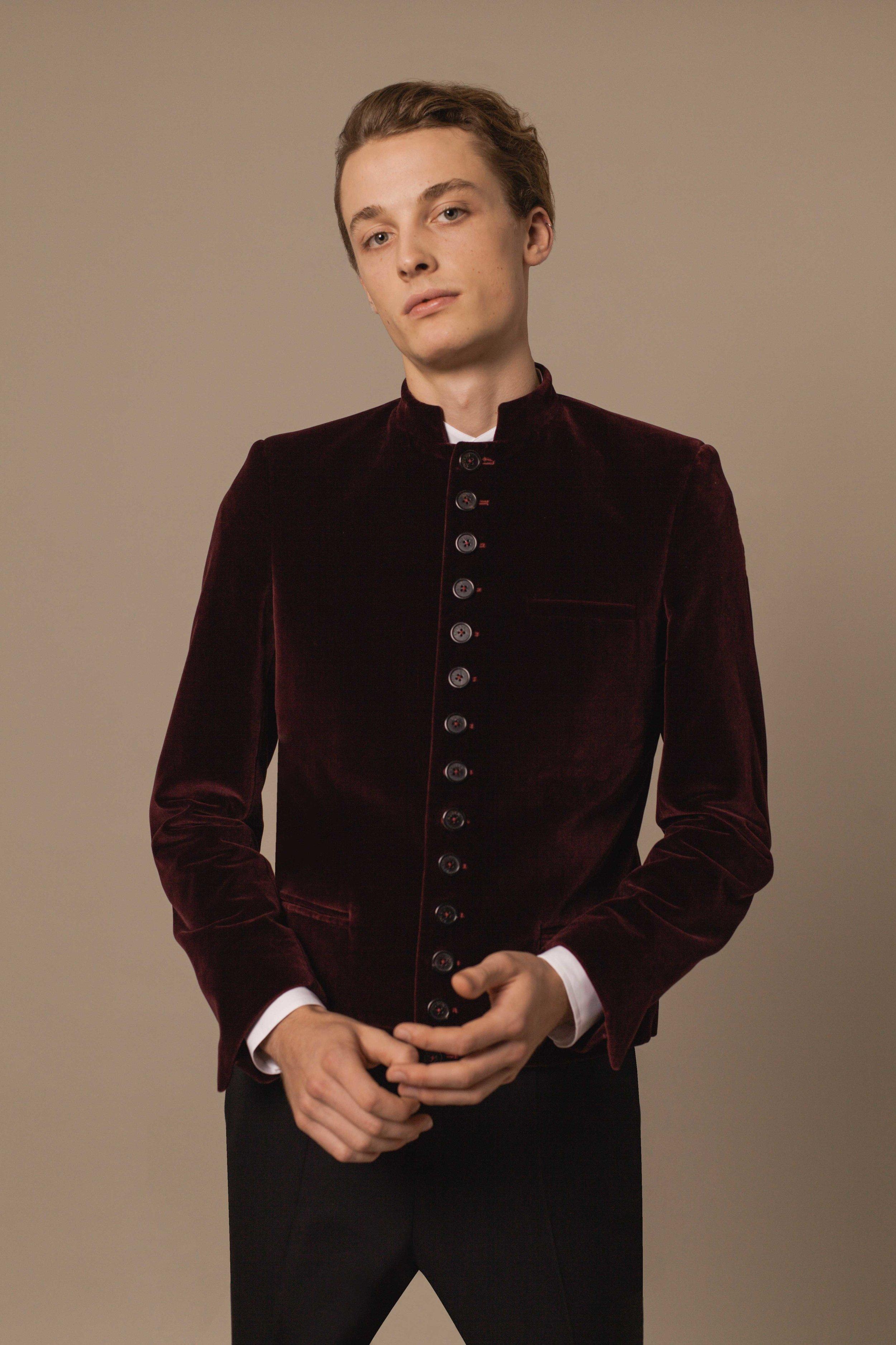 Nepal jacket burgundy Pontoglio Italian velvet Hand made in London
