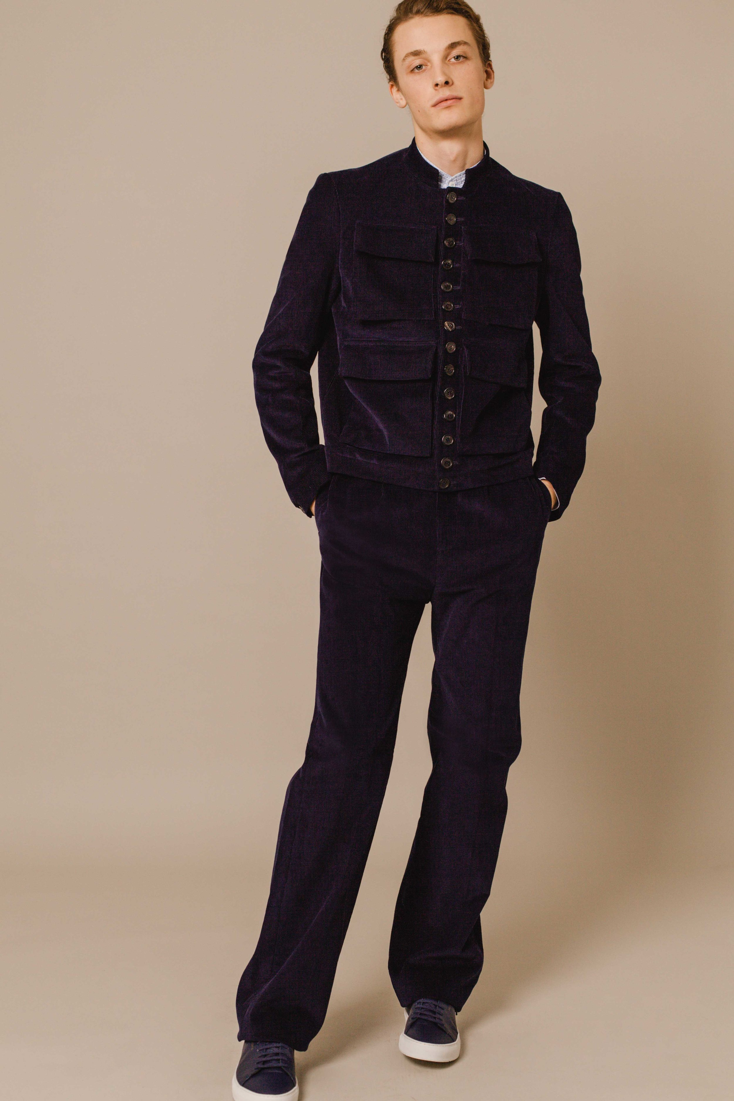 Aviator jacket navy Italian corduroy High waist trousers navy Italian corduroy Hand made in London