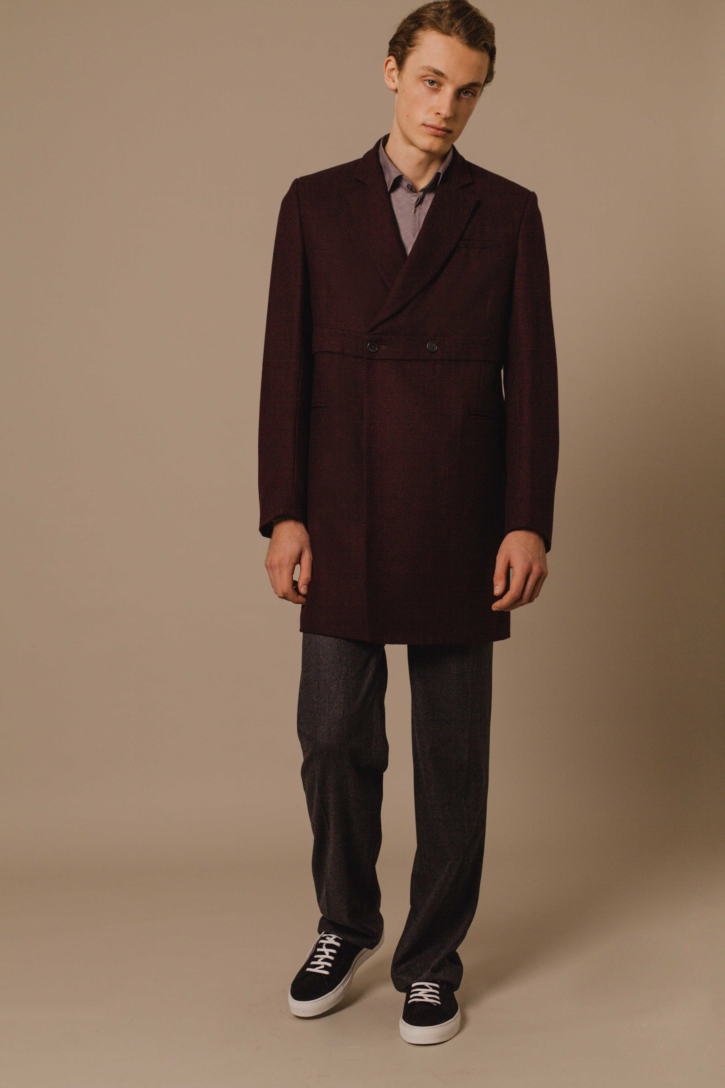 Trench coat burgundy Austrian Leichtfried wool High waist trousers charcoal Hand made in London  Classic shirt grey Made in Italy
