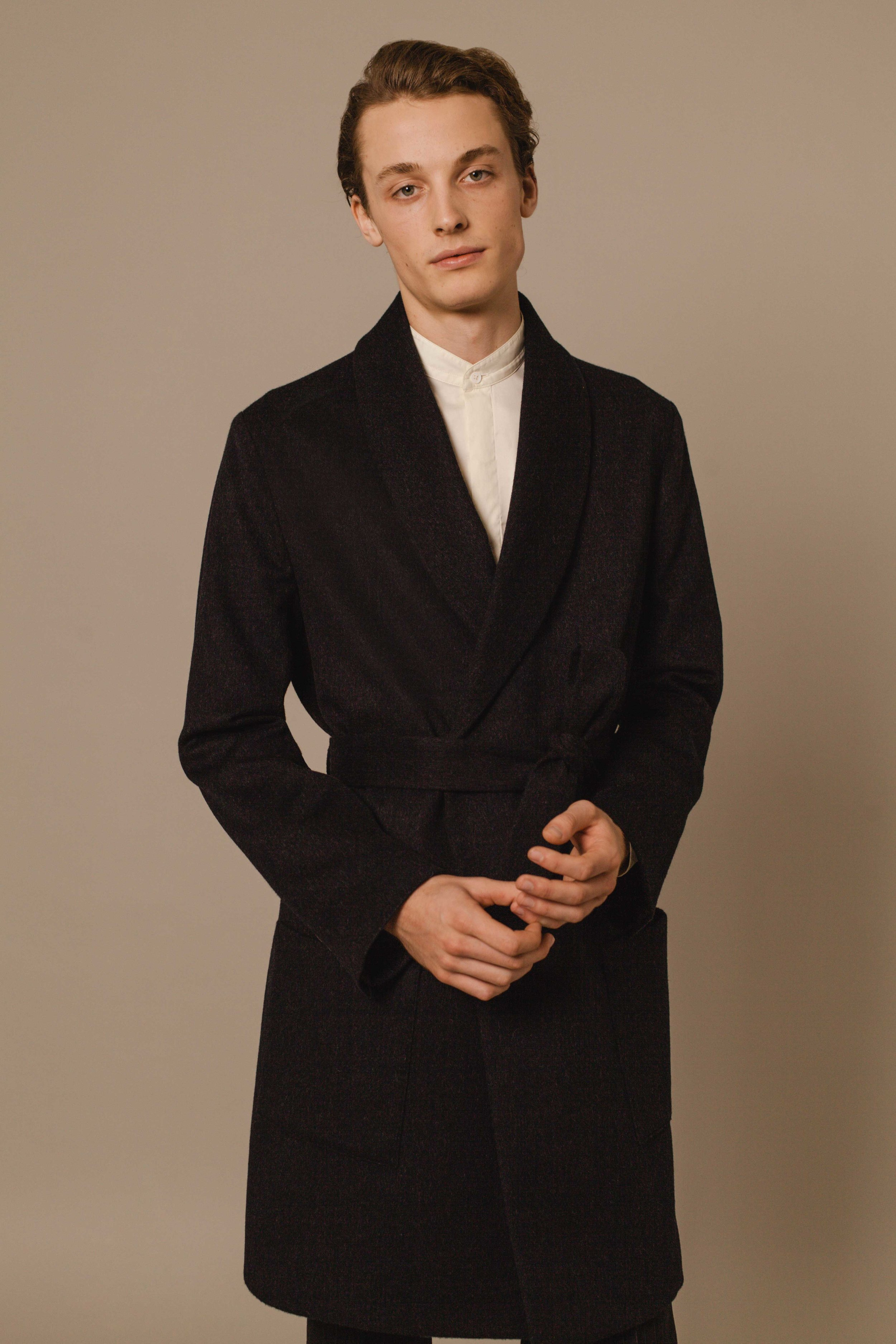 Belted robe coat grey Austrian Leichtfried wool Hand made in London  Bombay shirt white Made in Italy
