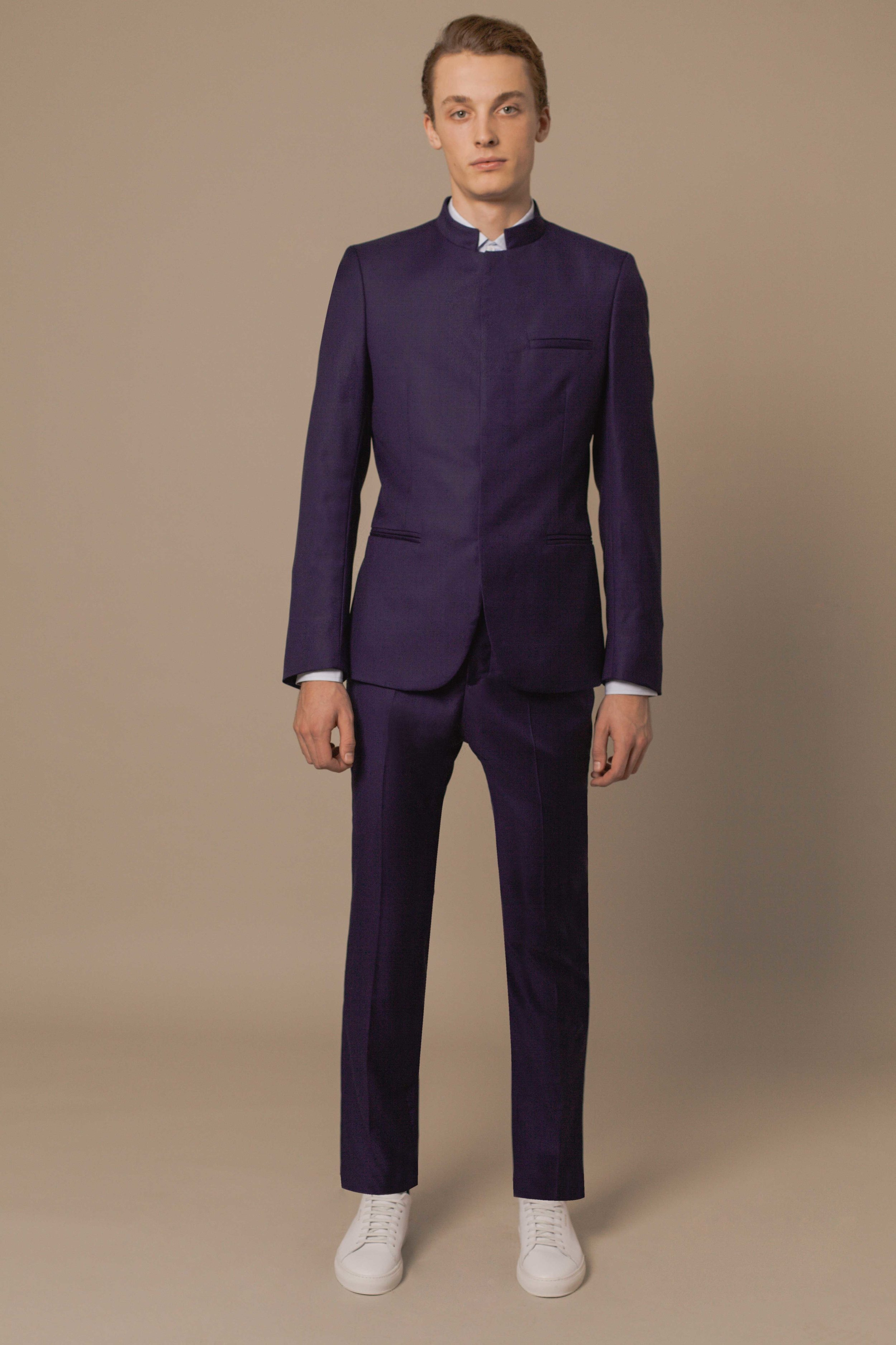Bombay jacket cobalt blue wool Slim fit trousers cobalt blue wool Classic shirt sky blue cotton Made in Italy