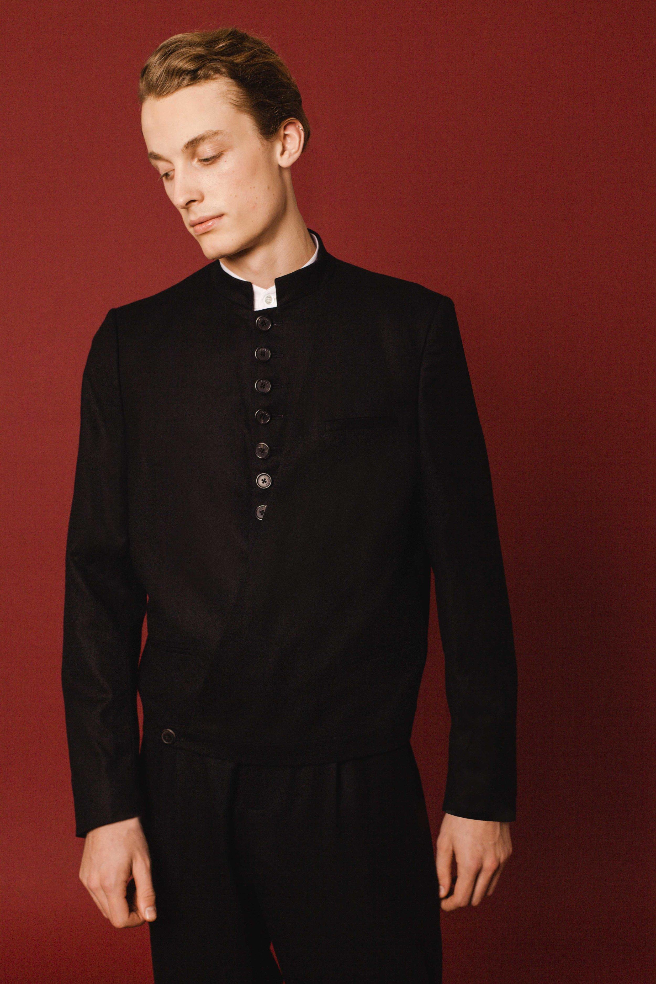 Cross over jacket black wool Drape trousers black wool Made in England