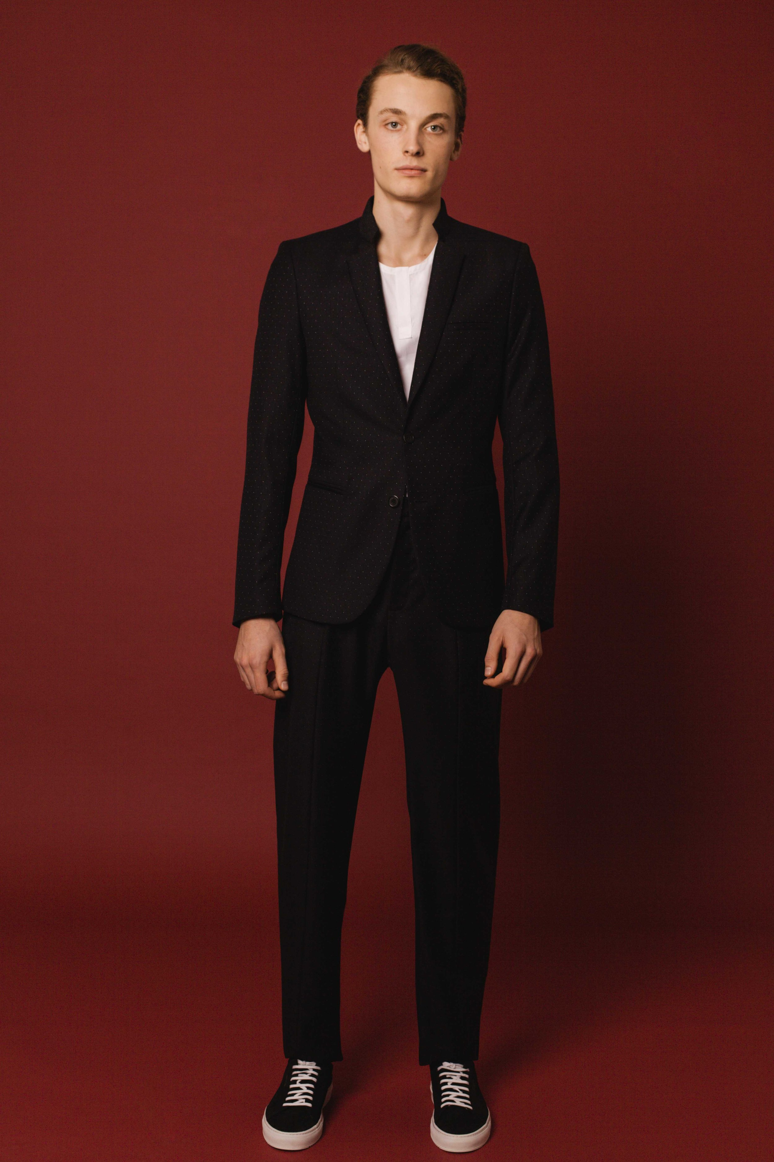 Contemporary jacket black polka dot wool Jodhpur trousers black polka dot wool Marina shirt white cotton Made in Italy
