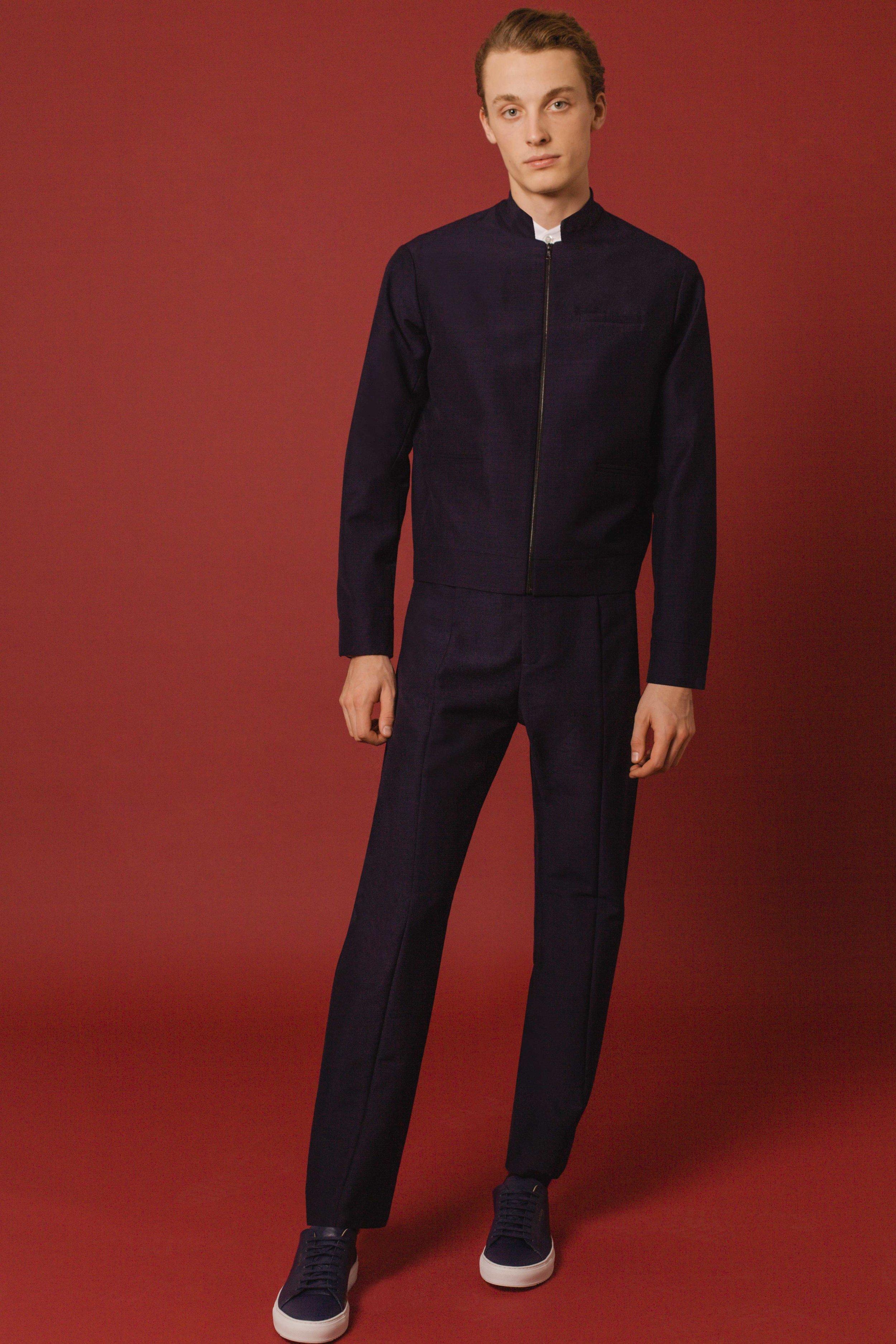 Blouson bomber navy mohair Jodhpur trousers navy mohair Made in England