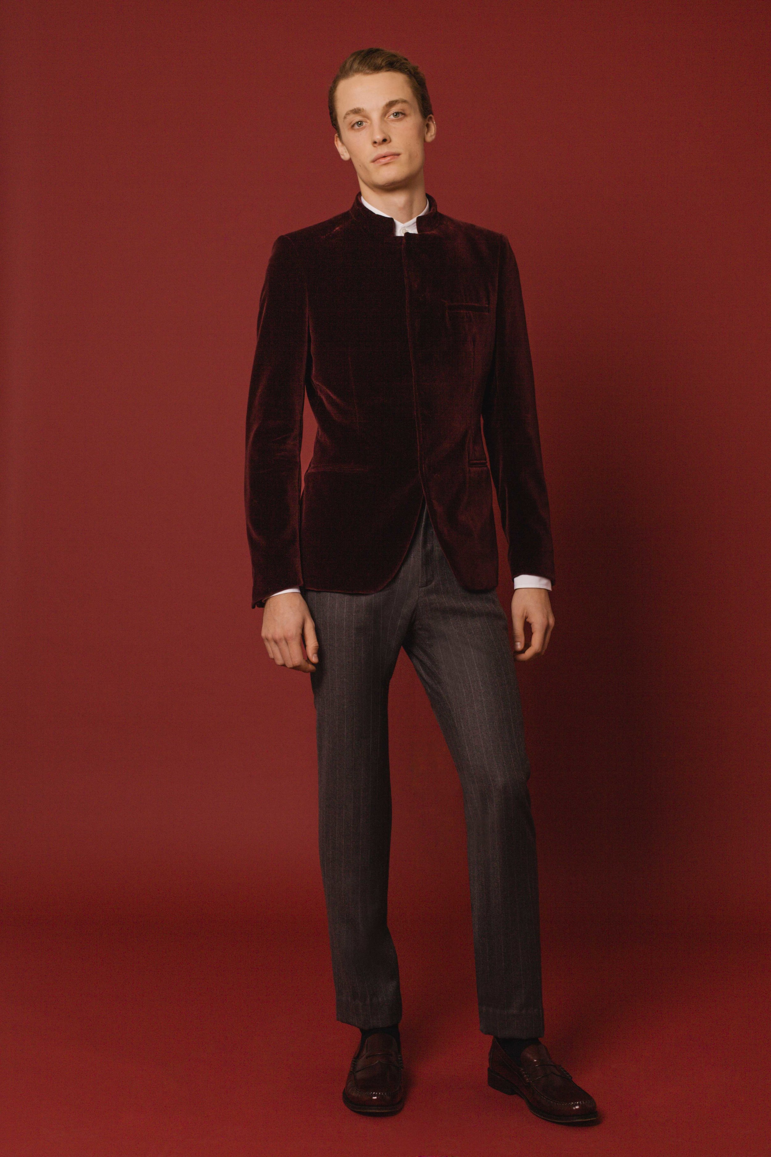 Bombay jacket burgundy velvet Slim fit trousers grey pinstripe wool Made in England  Classic shirt white Made in Italy