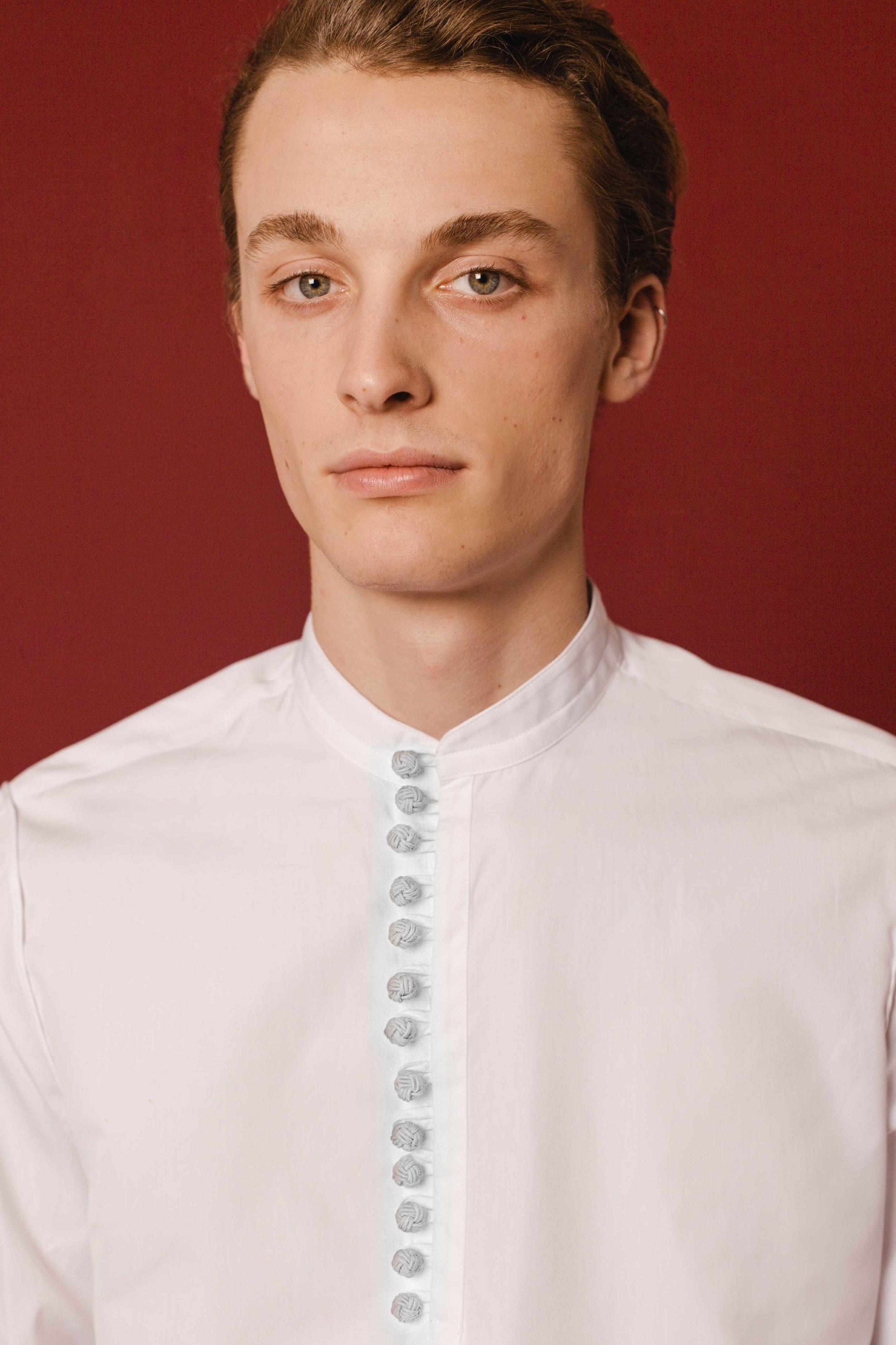 Nepal shirt white with white silk buttons Made in Italy