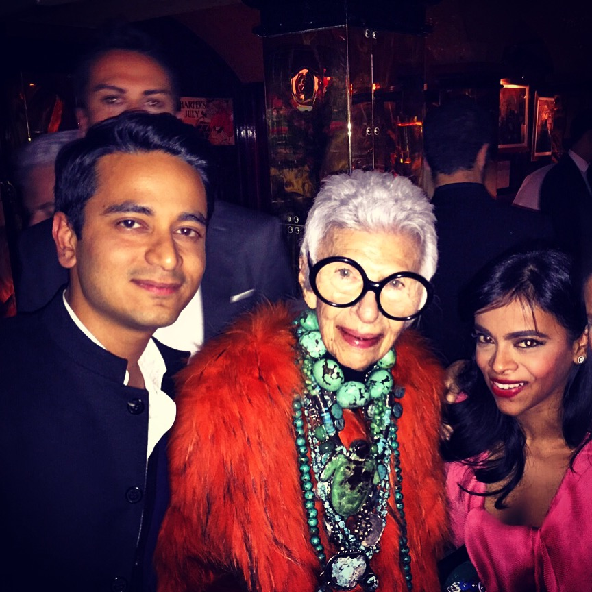 ABHISHEK ADVANI IN THE BOMBAY JACKET WITH IRIS APFEL ANNABEL'S LONDON 2016