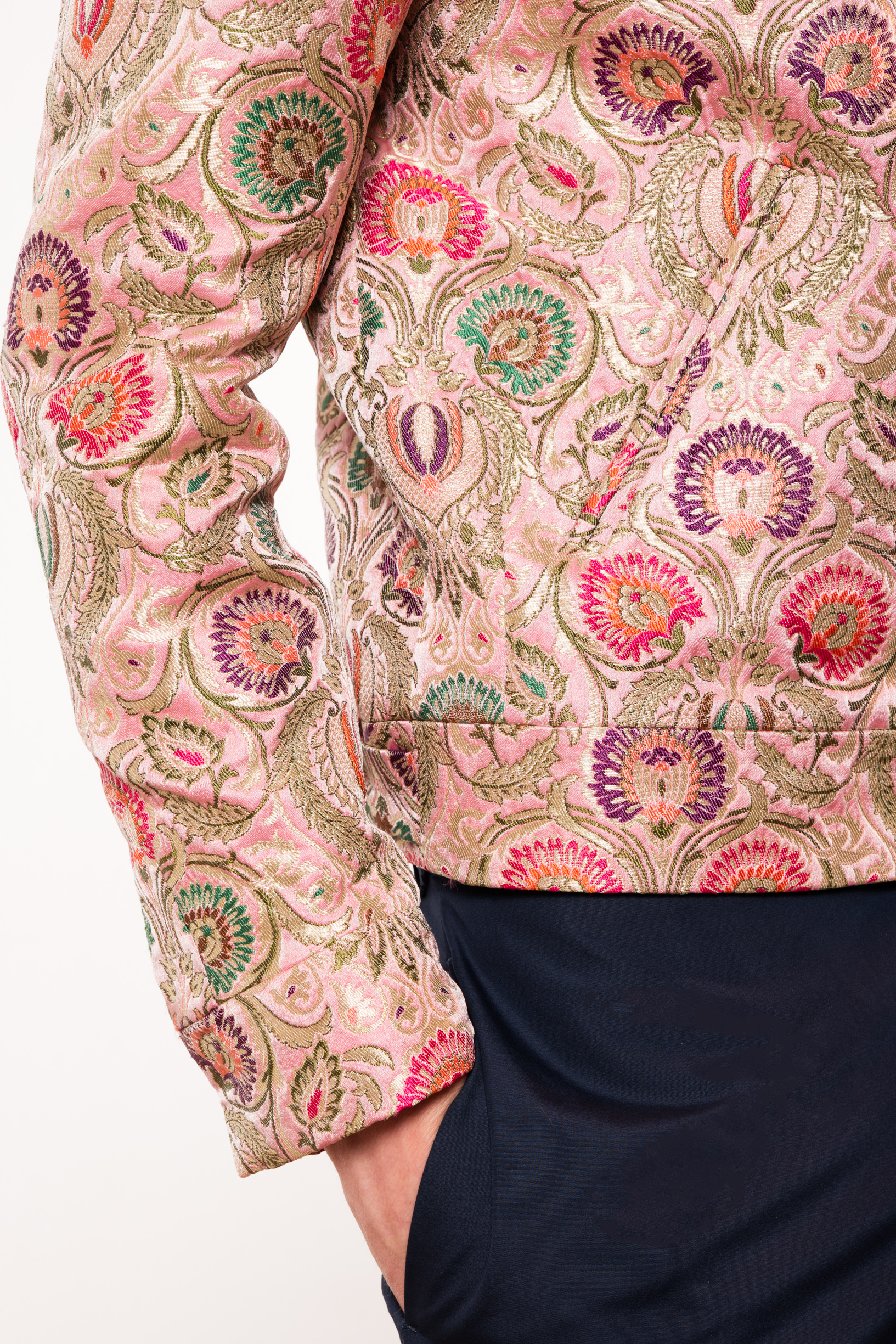 Sari bomber pink brocade Shirting shorts navy