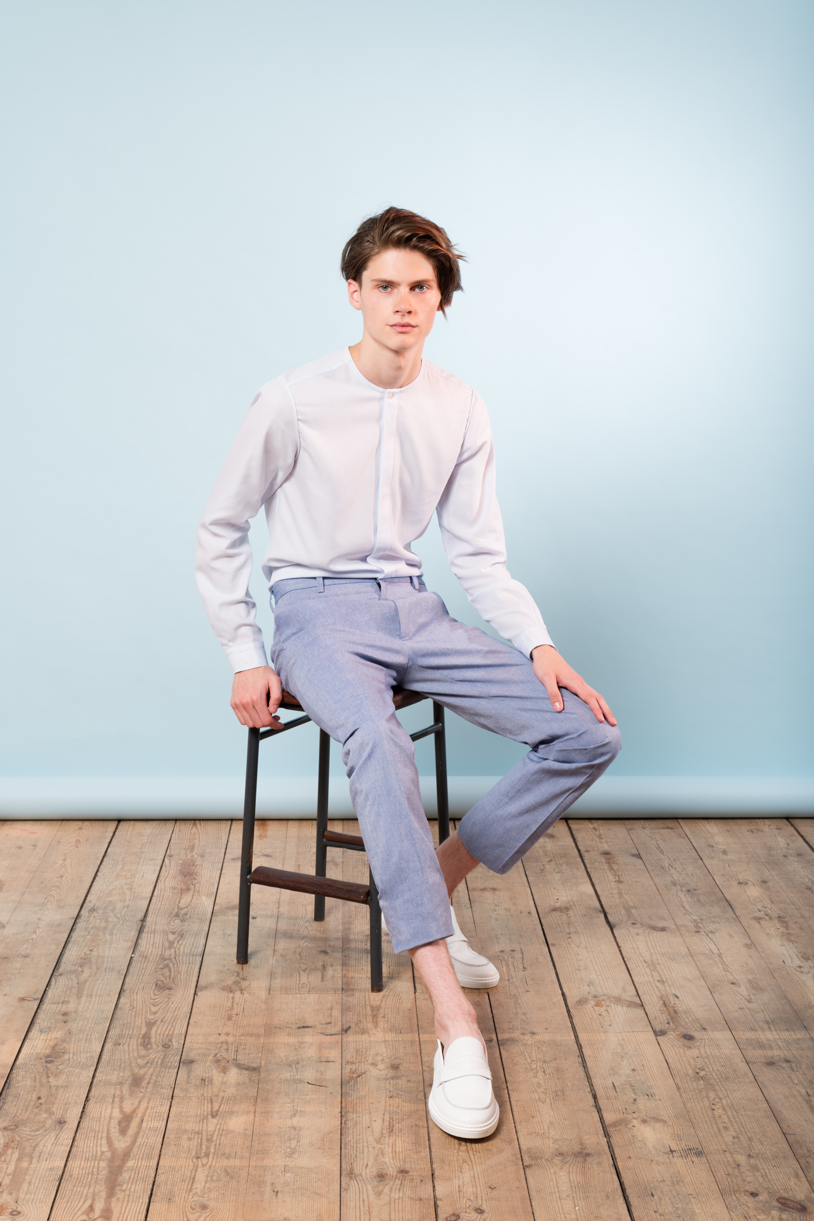 No Collar shirt lim fit trousers Japanese cotton