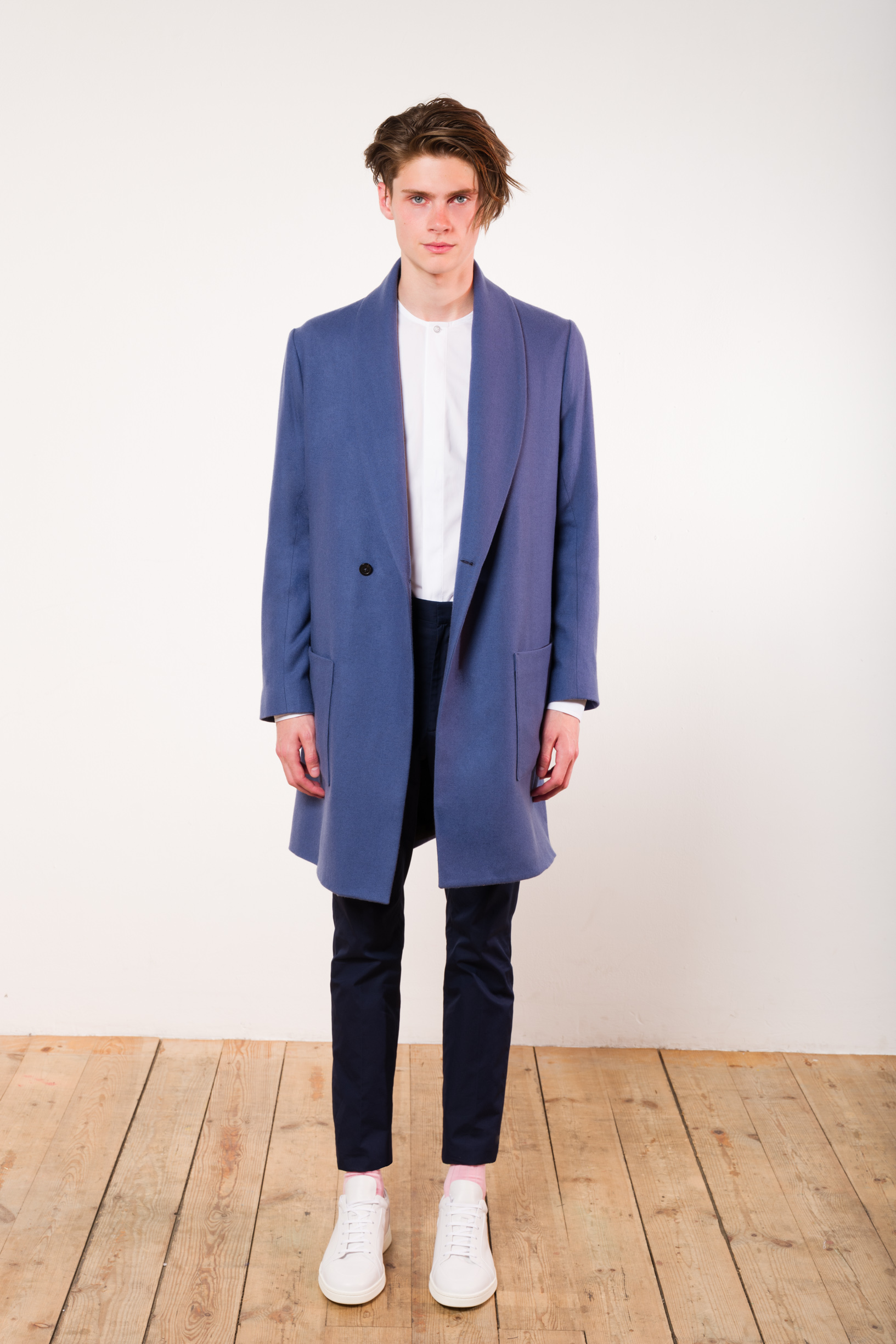 Robe coat cashmere cornflower blue No Collar shirt Shirting trousers
