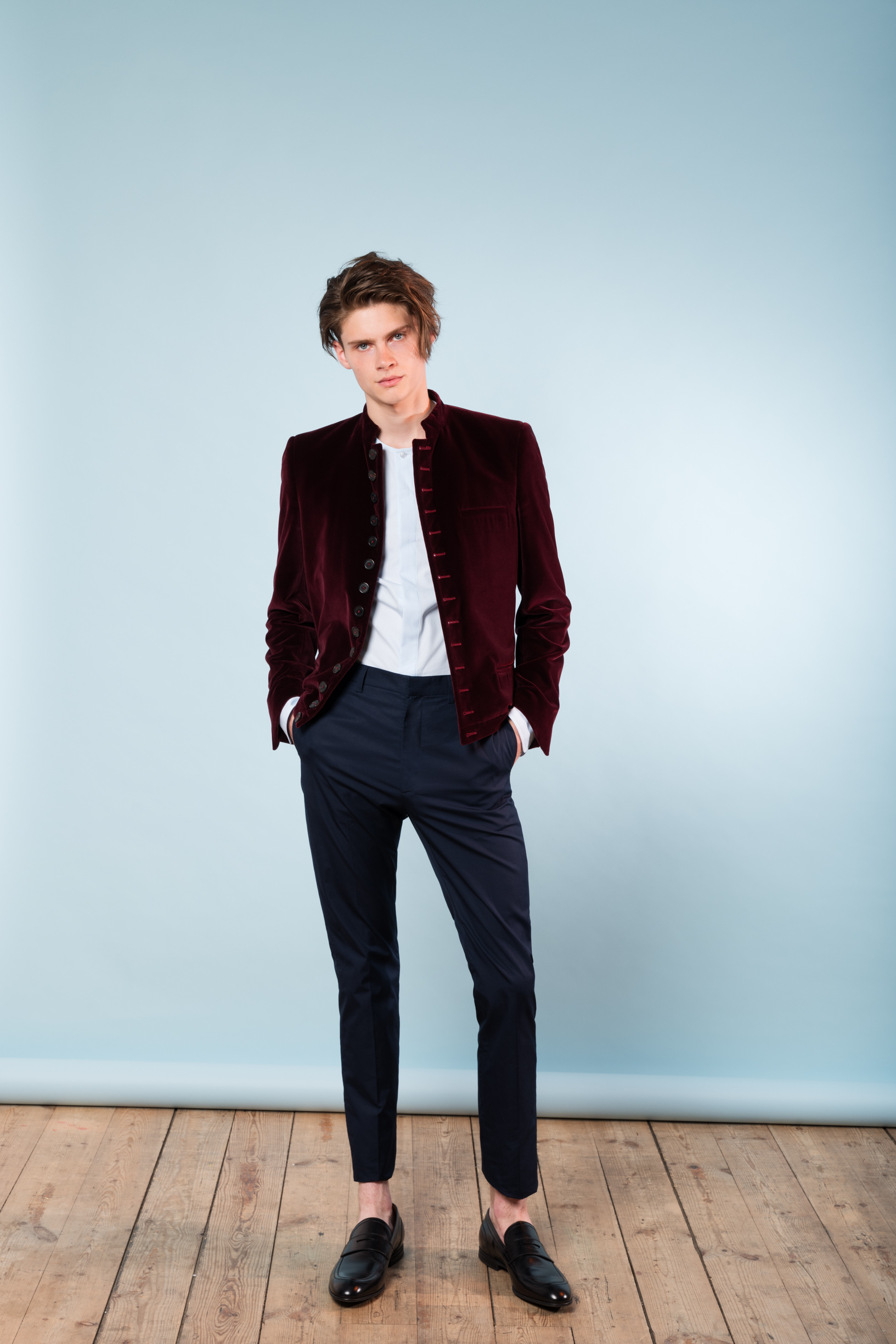 Nepal jacket burgundy velvet No collar shirt Shirting trousers
