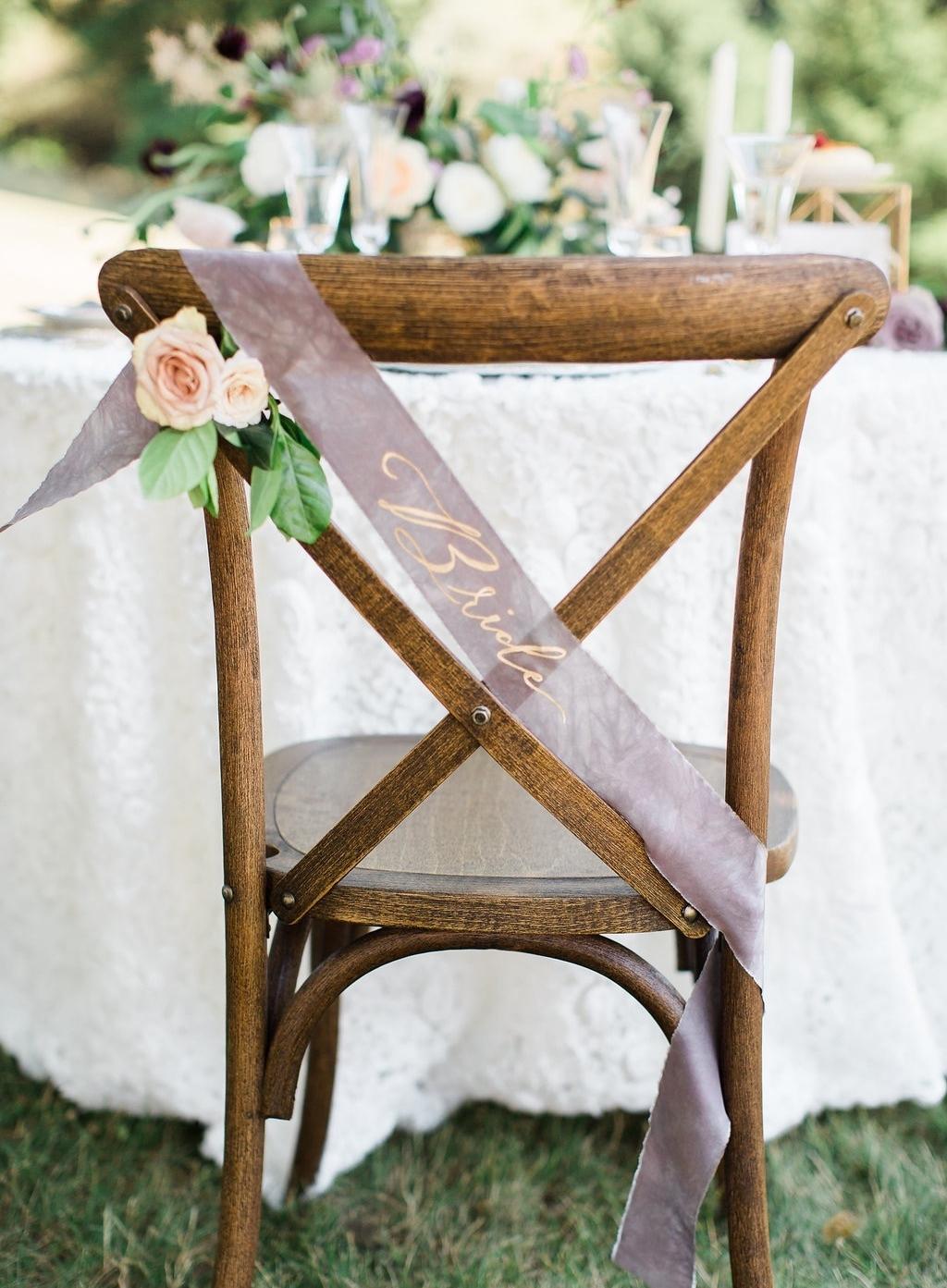 styled wedding shoot bride chair design