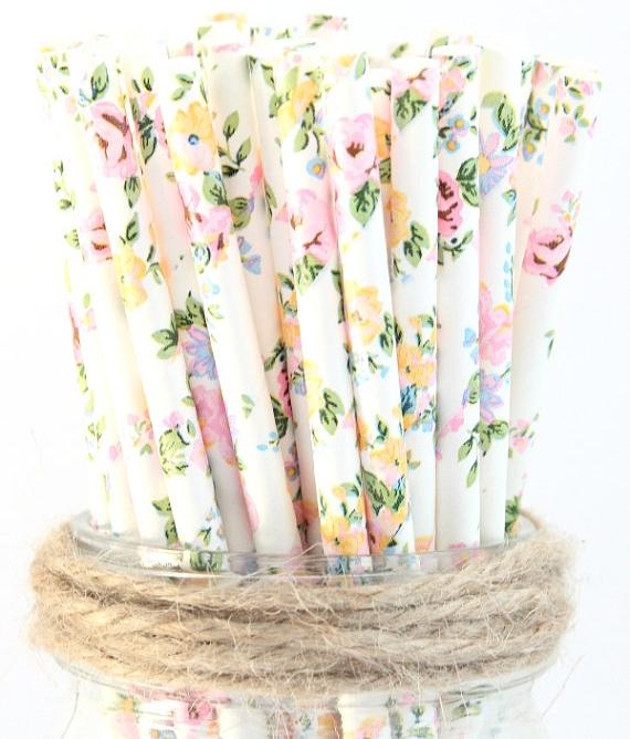 glitter saturday floral straws