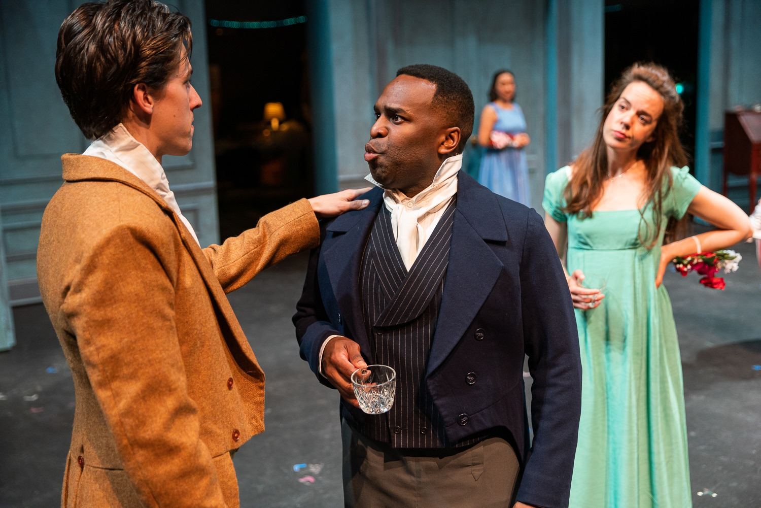 Louis Reyes McWilliams (Bingley), Omar Robinson (Darcy), Lydia Barnett-Mulligan (Lizzy). Photo by Nile Scott Studios