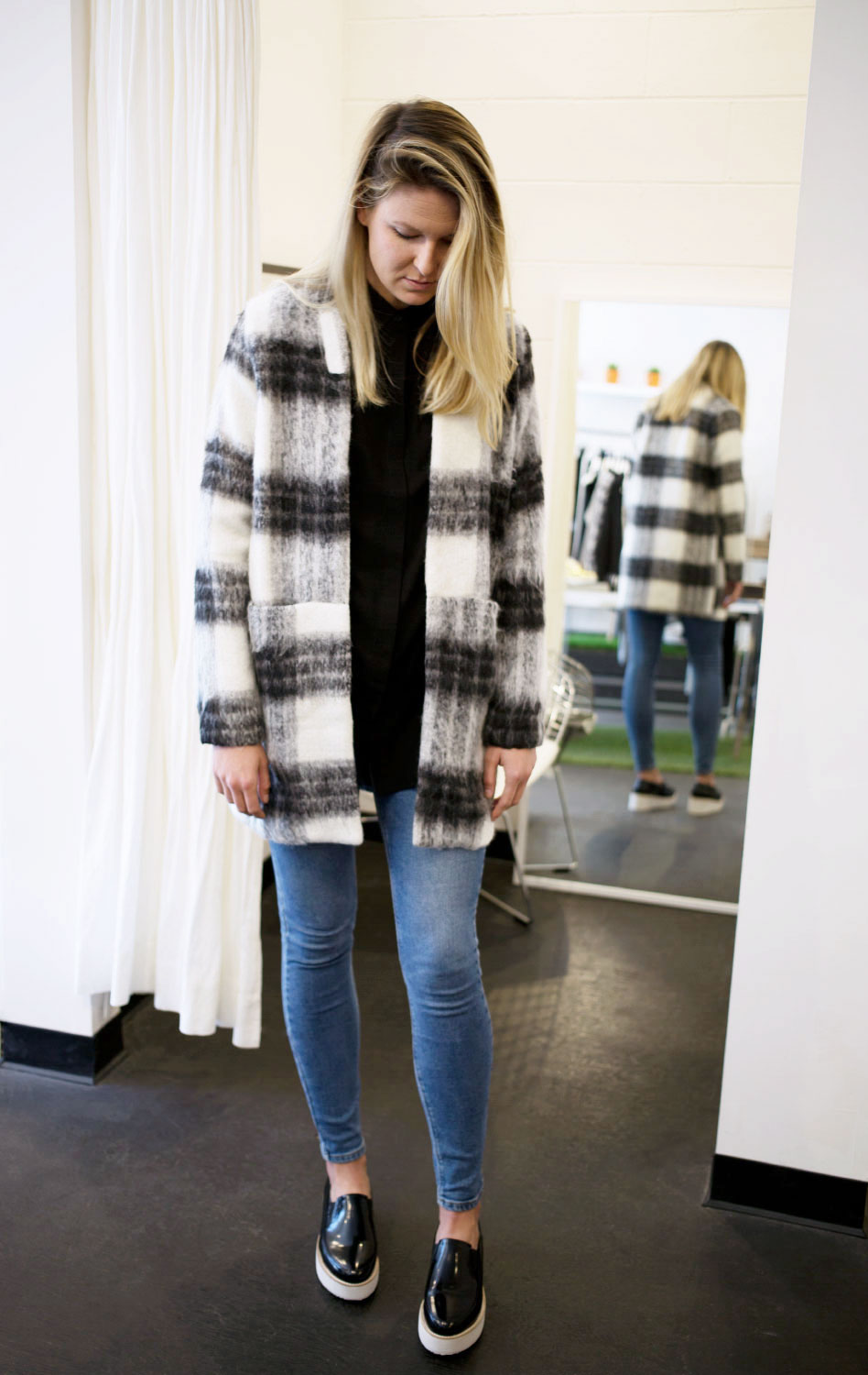 Wearing Just Female  Jo Long Shirt  in Black, Just Female  Wood Kimono  in Plaid, Sol Sana  Tabbie Platforms and Res Denim Kitty High Waisted Jeans.