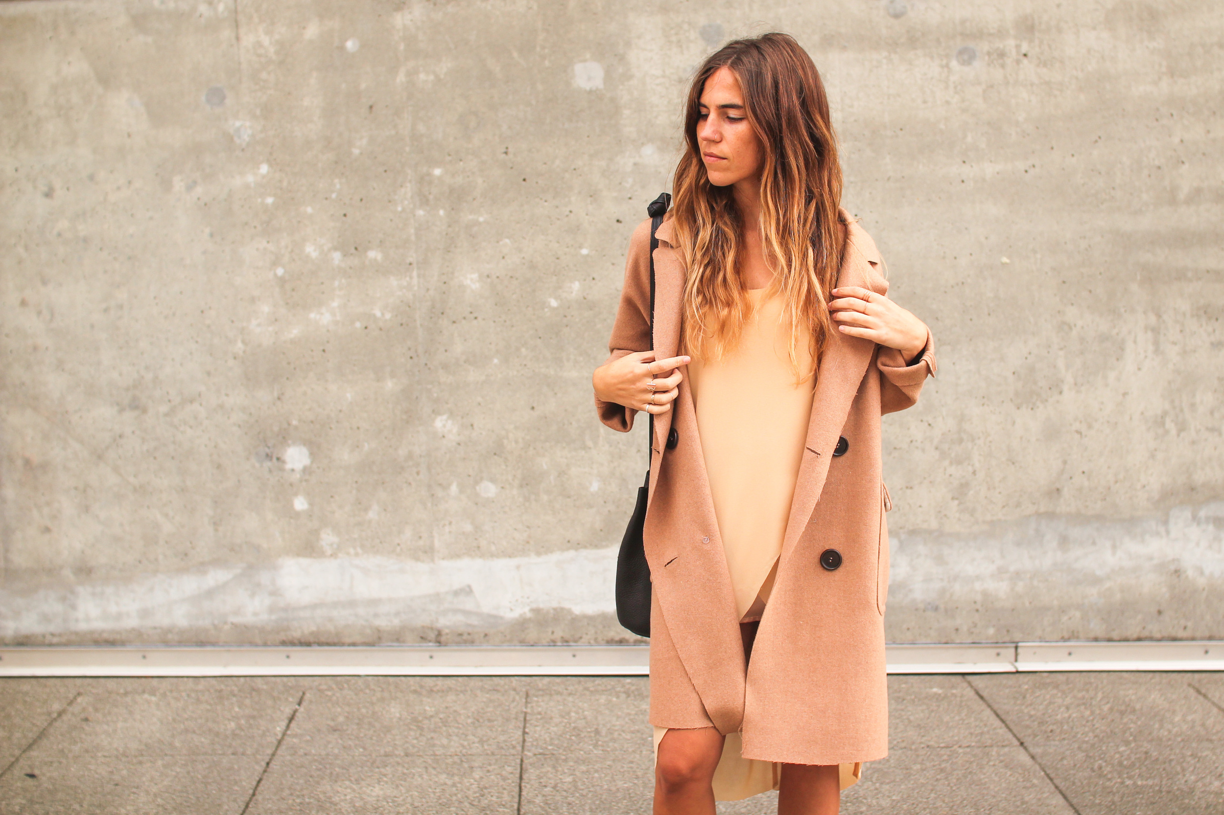 Here wearing the  BLQ Wool Trench  and  BLQ Tunic Dress . We also love to pair the Lacausa slip dresses with this trench  here .