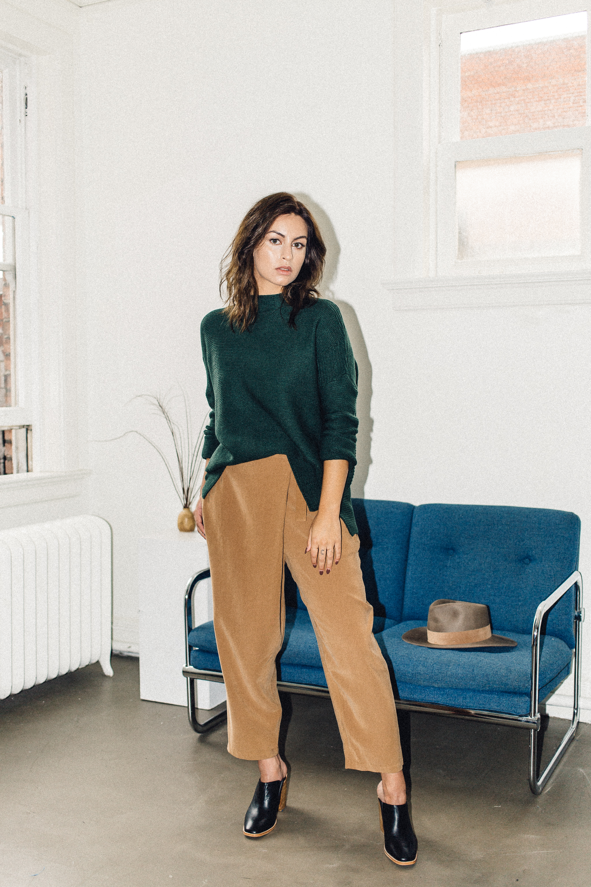 Scotland sweater forest green Knot sisters, achro wrap trouser camel, sol sana frost mule black   PIPE AND ROW.jpg