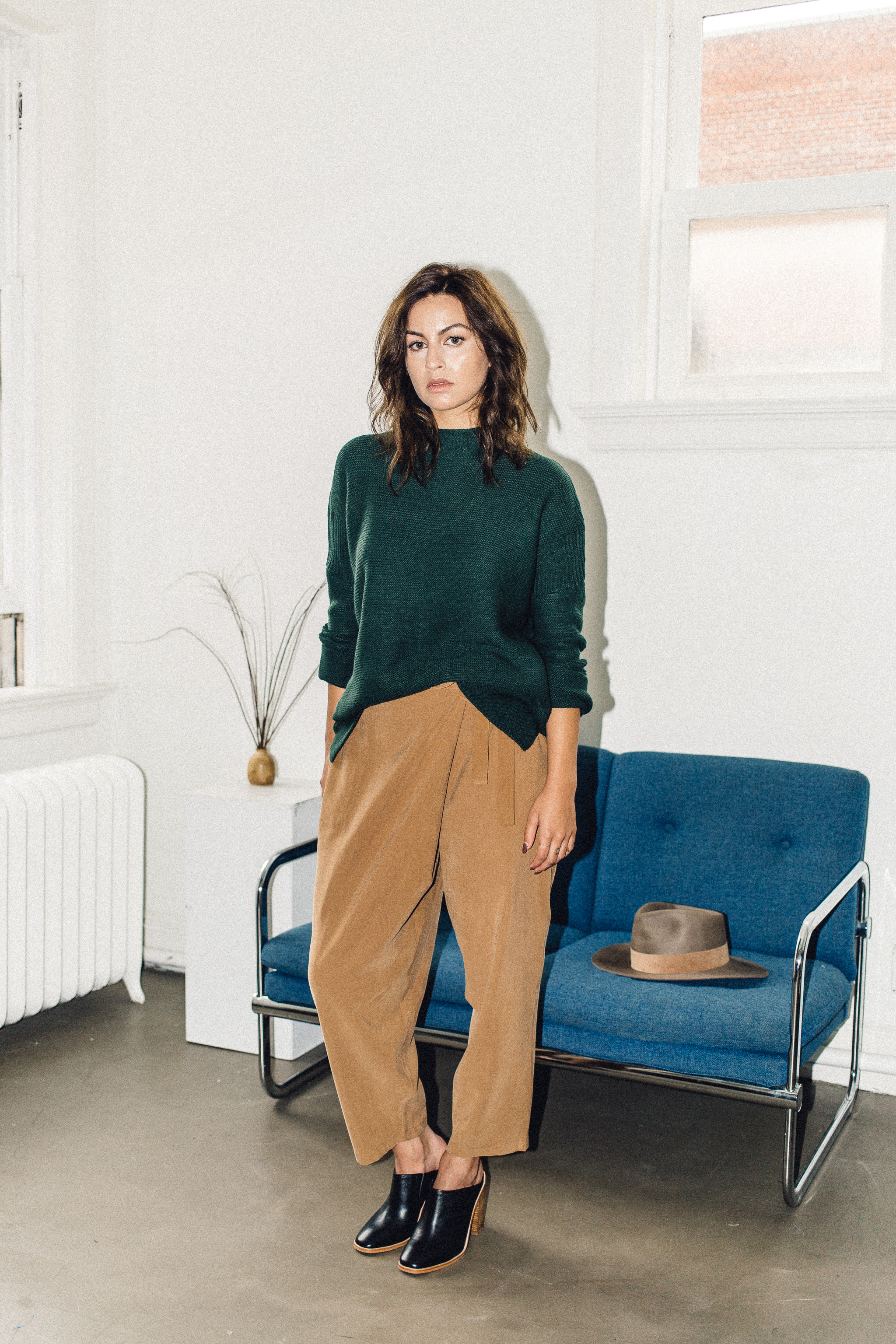Scotland sweater green Knot sisters, achro wrap trouser camel with sol sana frost mule black   PIPE AND ROW.jpg
