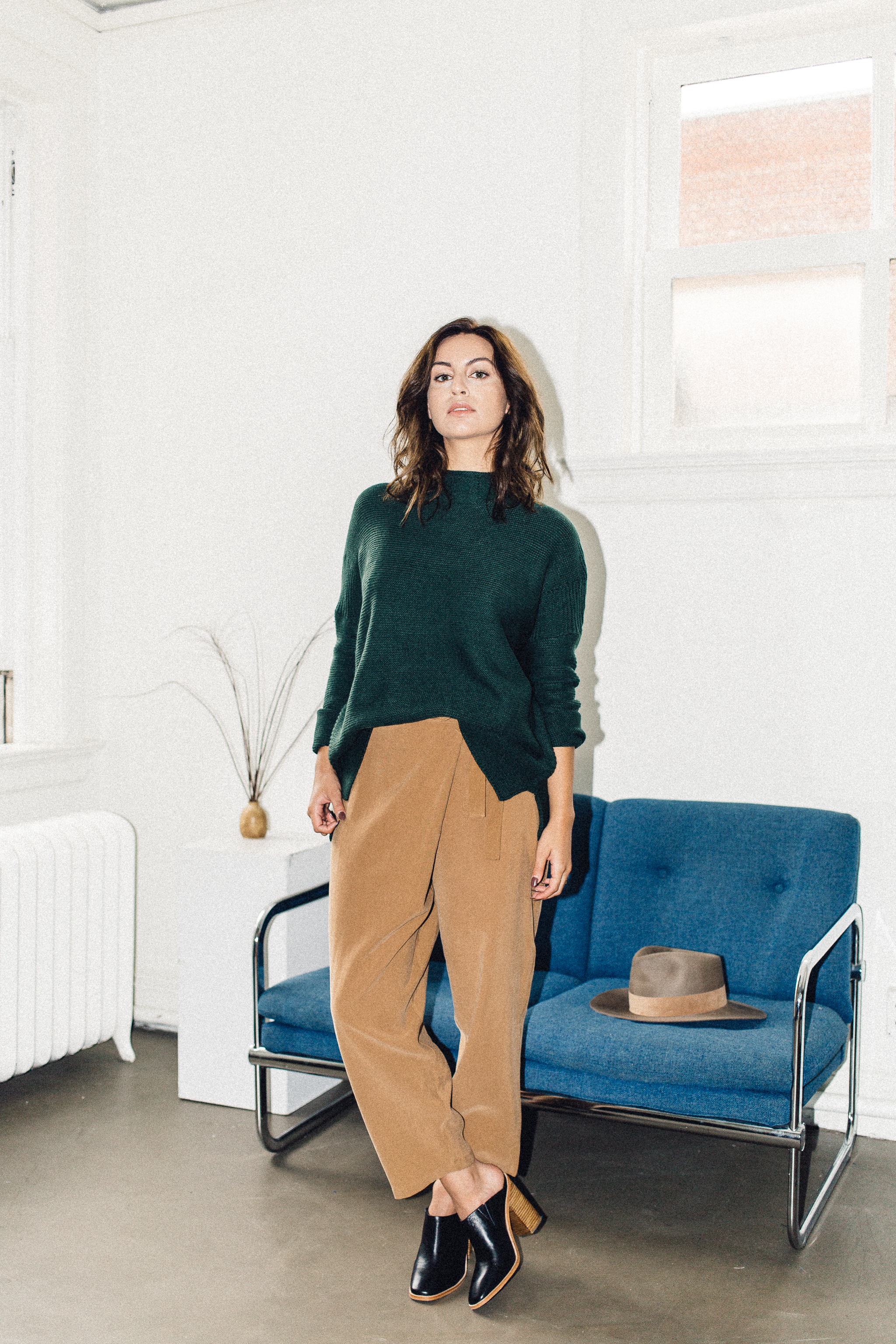 Scotland sweater green Knot sisters, achro wrap trouser camel, sol sana frost mule black   PIPE AND ROW.jpg