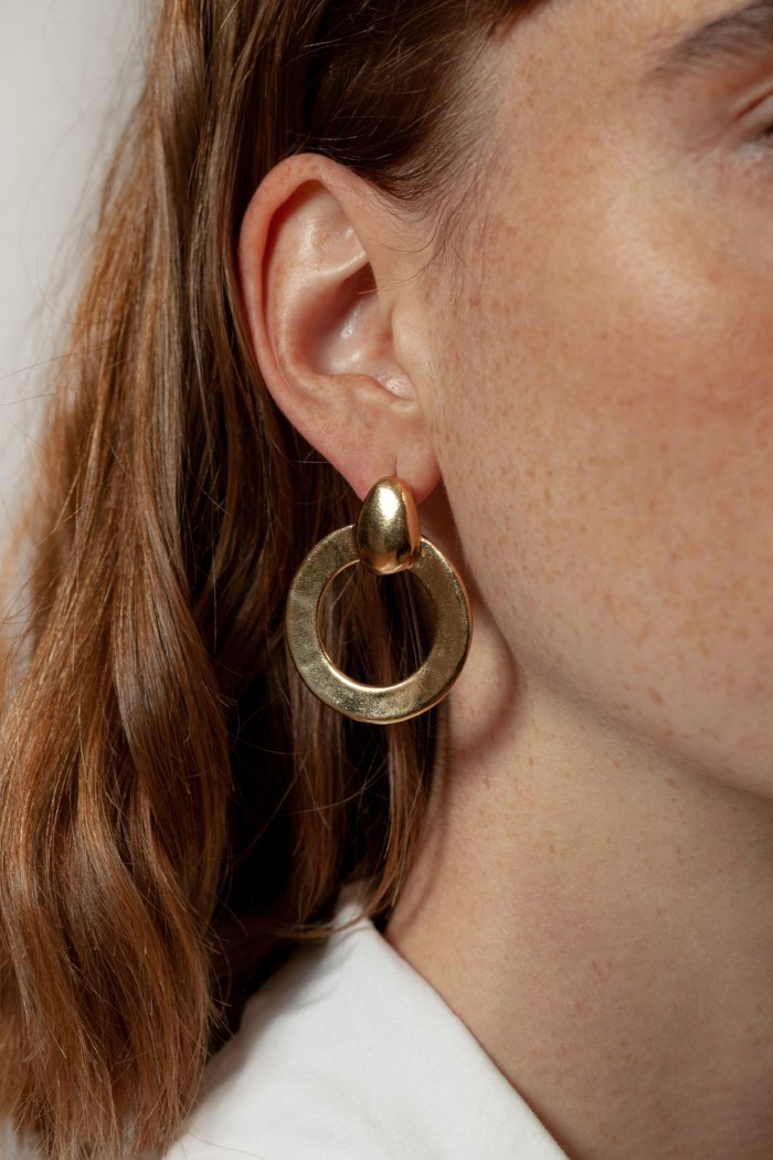 pipe and row wolf circus lotti hoop earring  recycled metal