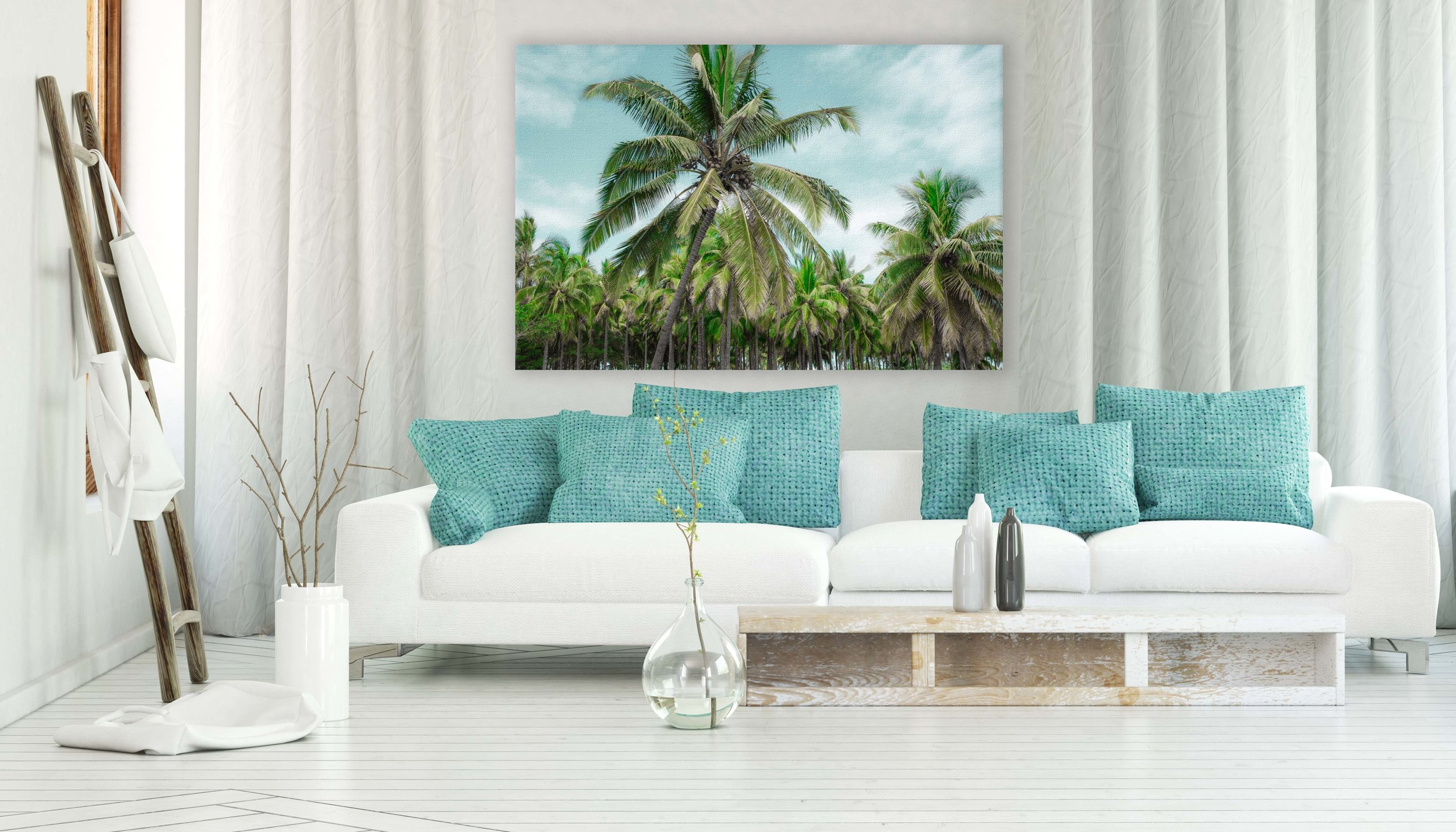 palms carefree white couch teal pillows.jpg
