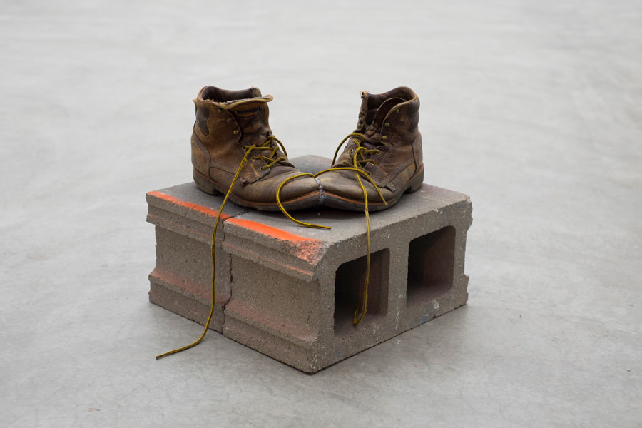 Los Novios (for M), work boots, cinder blocks, hot glue, spray paint, 2018