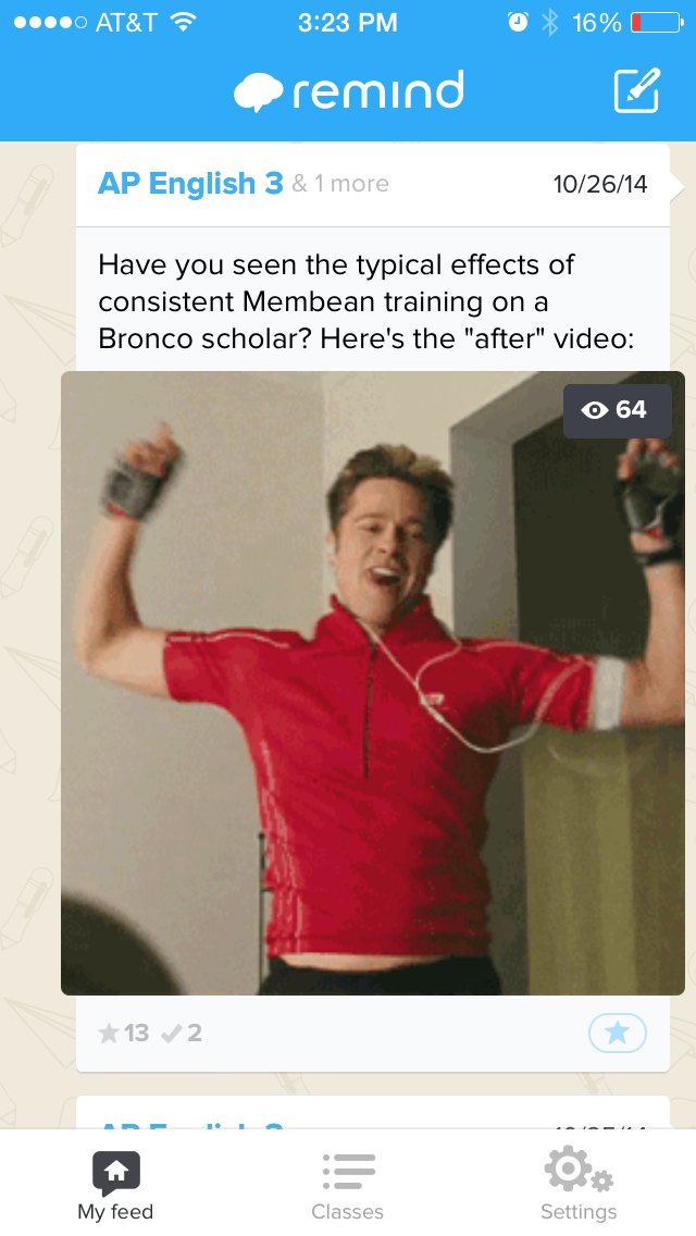 This still from an animated gif portrays an awkwardly ecstatic Brad Pitt. Students appreciate awkward ecstasy.