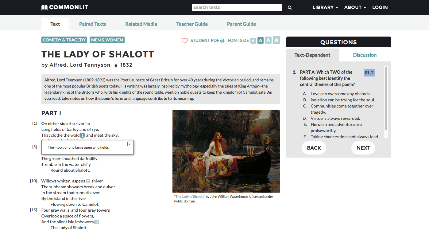 "Screenshot from the ""Lady of Shalott"" page on CommonLit.org. Notice the mouse-over footnotes, the gray box with the contextual background info, and the questions on the right."