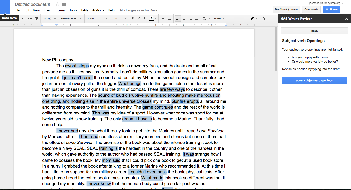 Screenshot of a Google Doc with the SAS Writing Reviser add-on to the right. This student began most sentences with the Subject-verb opening. By highlighting these openings, SAS gives the student a visualization of the impact of monotonous syntax.
