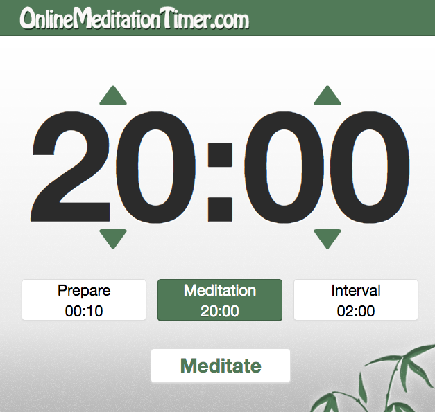 Screenshot from the Online Meditation Timer. This simple tool lets you set time intervals with a gentle sound that reminds you to move on to the next activity.