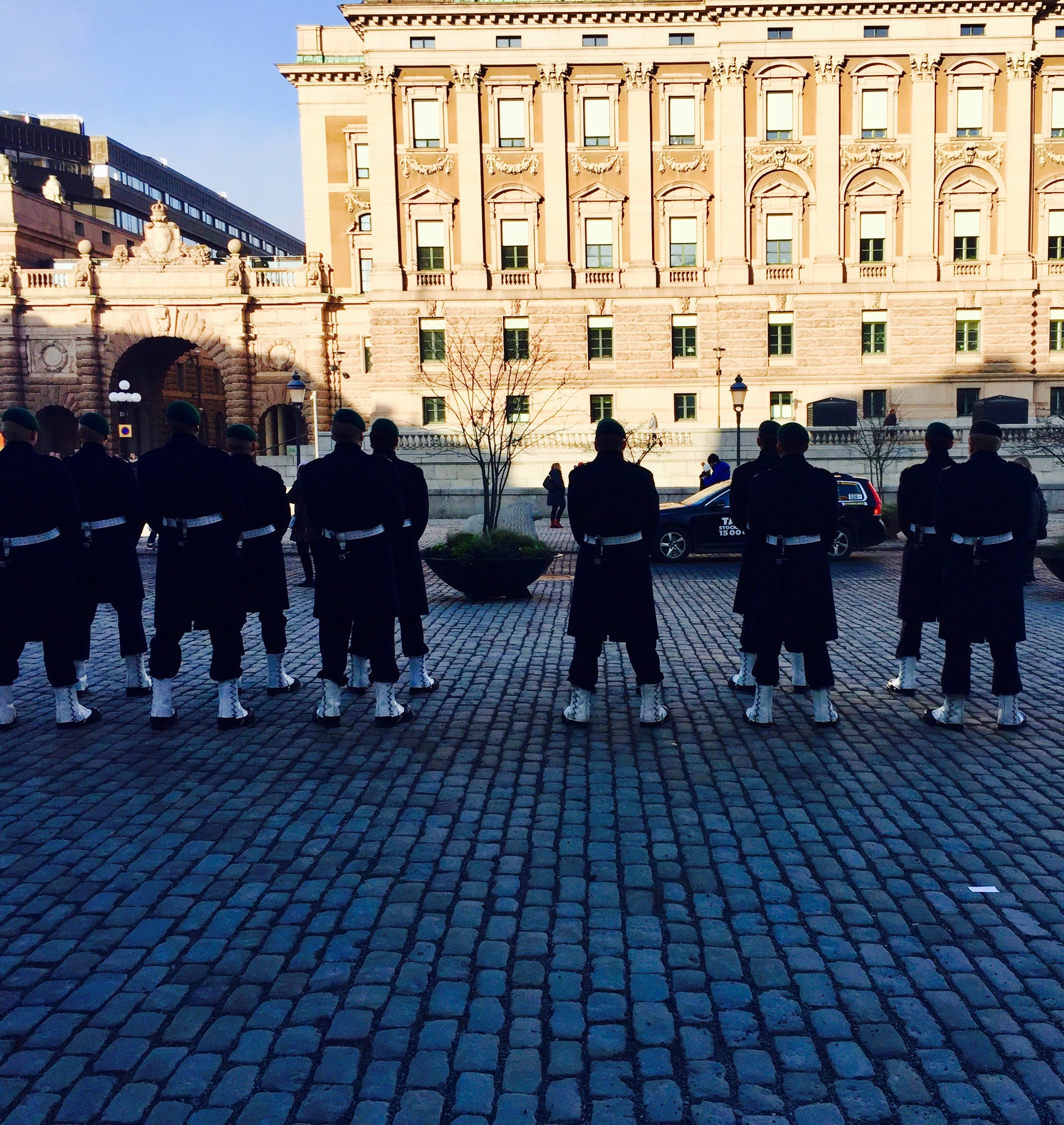 Handsome soldiers outside the Royal Palace.