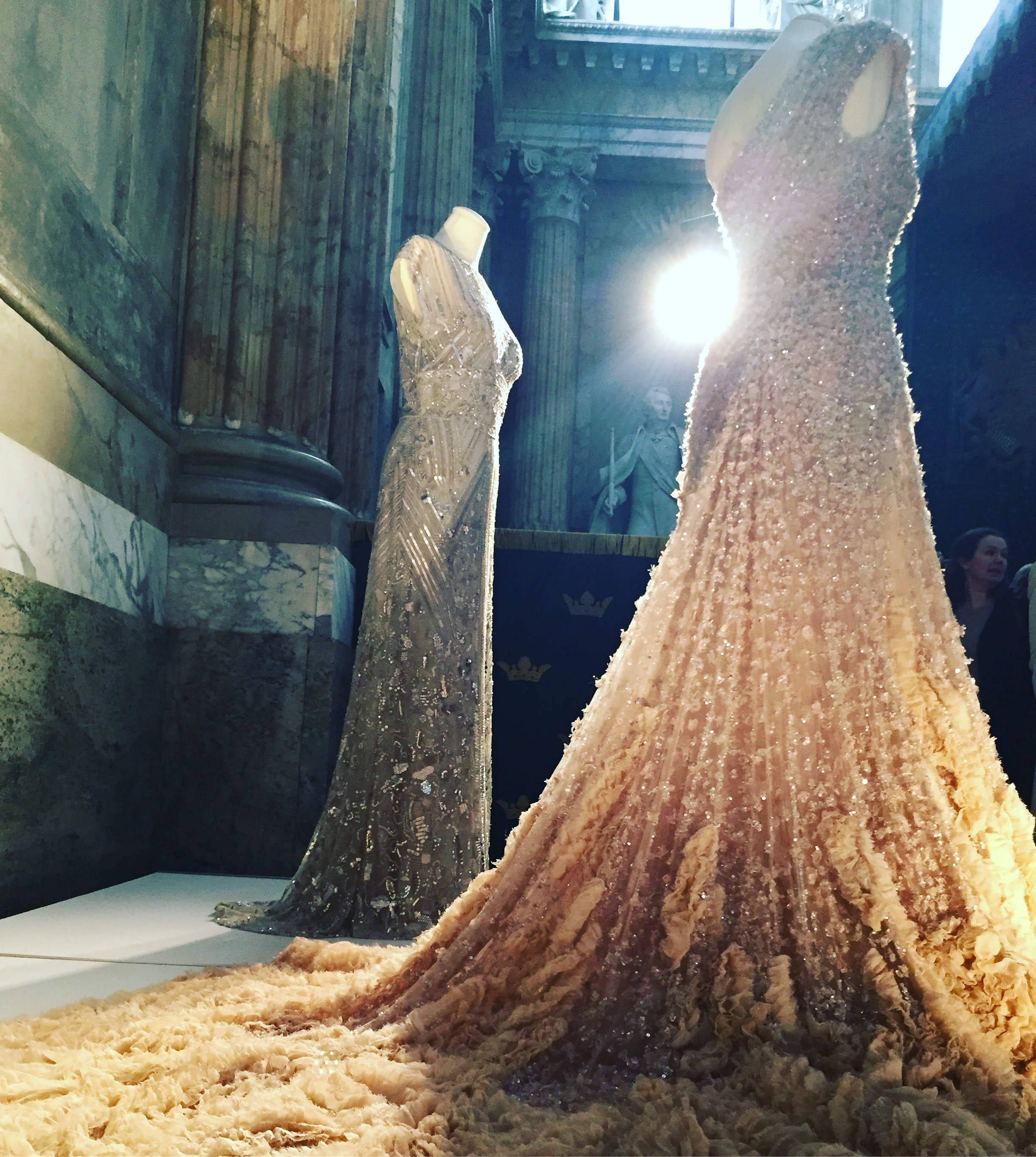 The gorgeous dresses the Princesses wore the night before their weddings. Designer: Elie Saab
